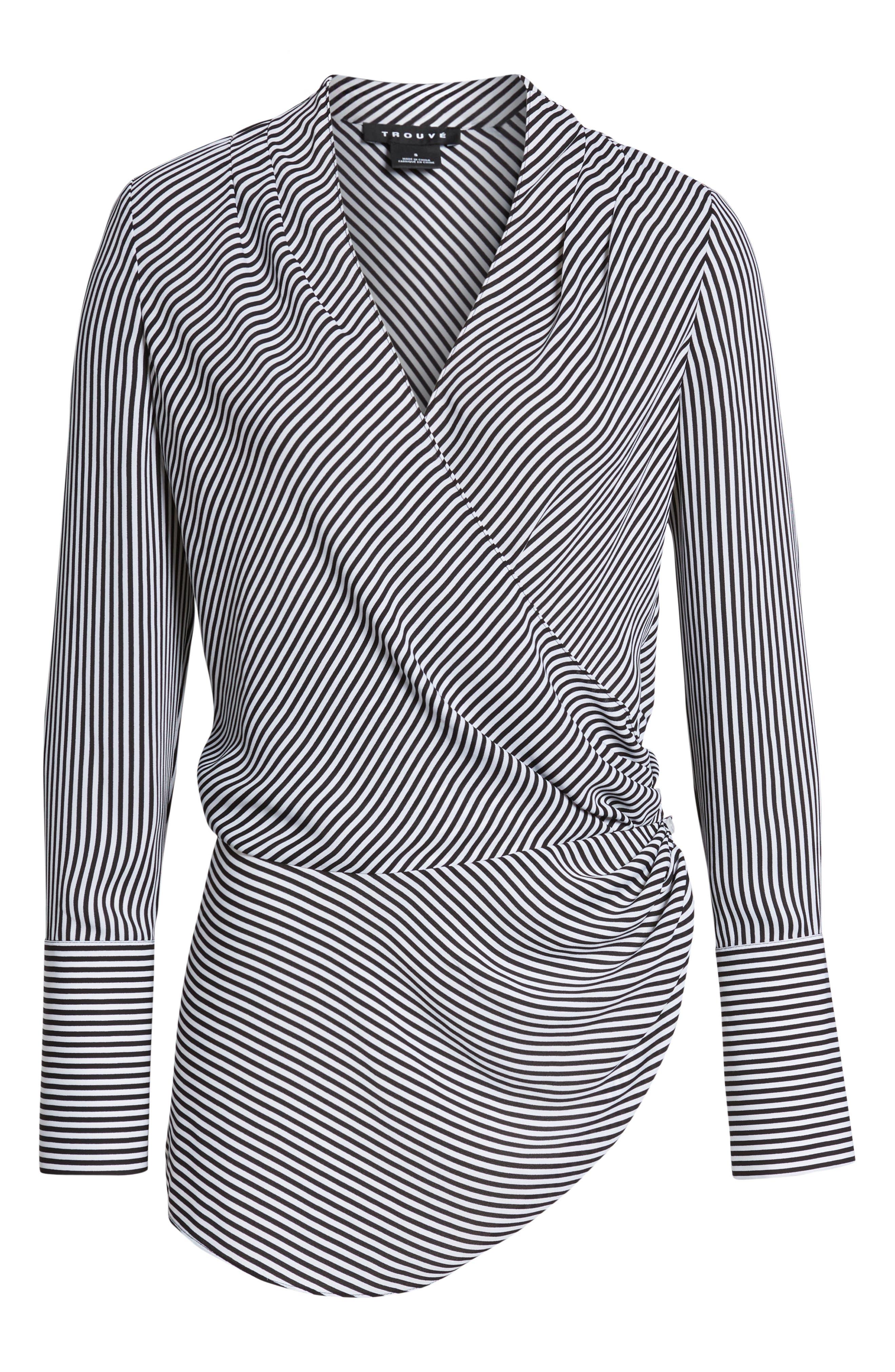 Long Sleeve Wrap Blouse,                             Alternate thumbnail 6, color,                             BLACK- WHITE STRIPE