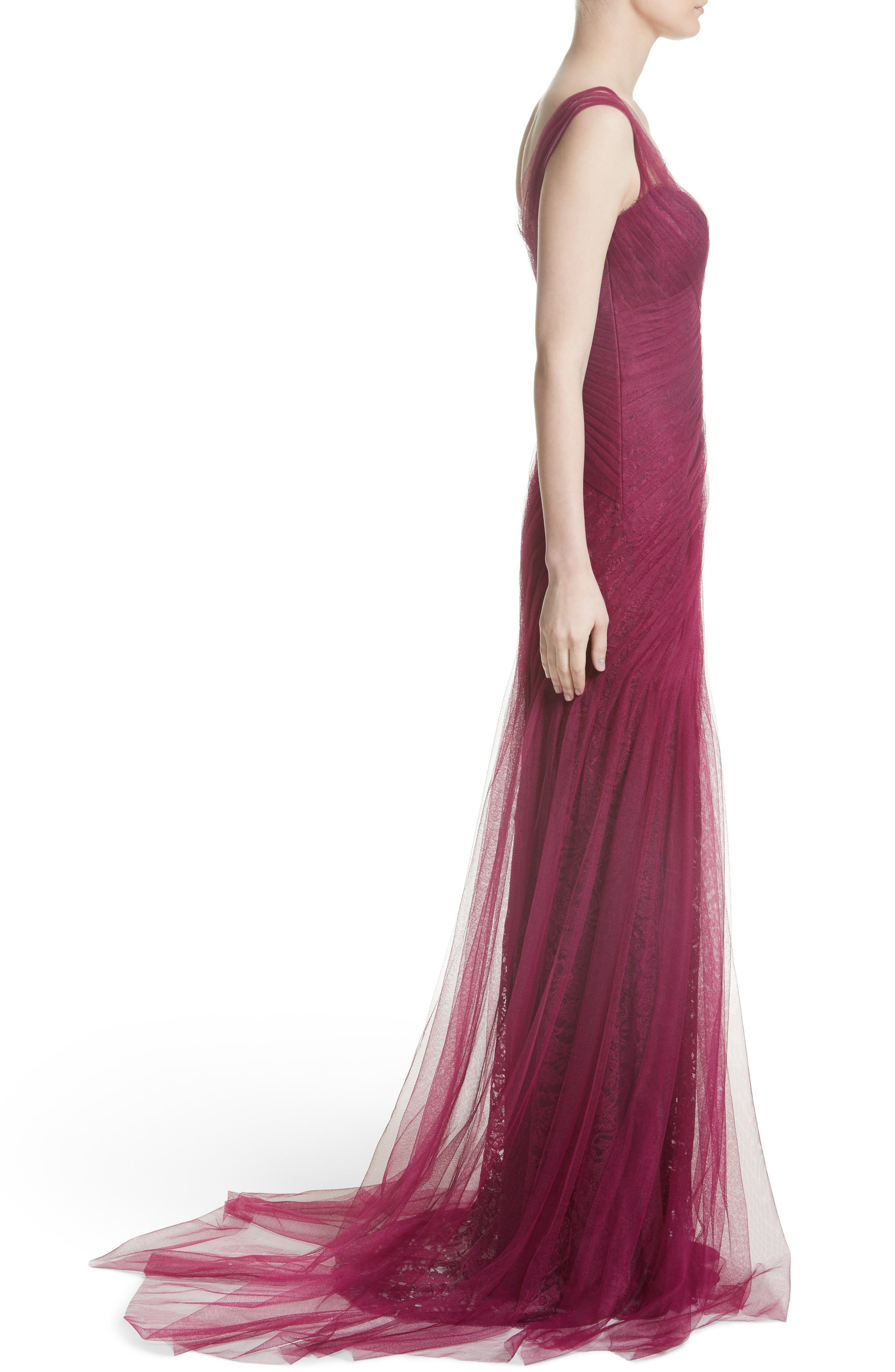 Draped Tulle & Lace Gown,                             Alternate thumbnail 3, color,                             930