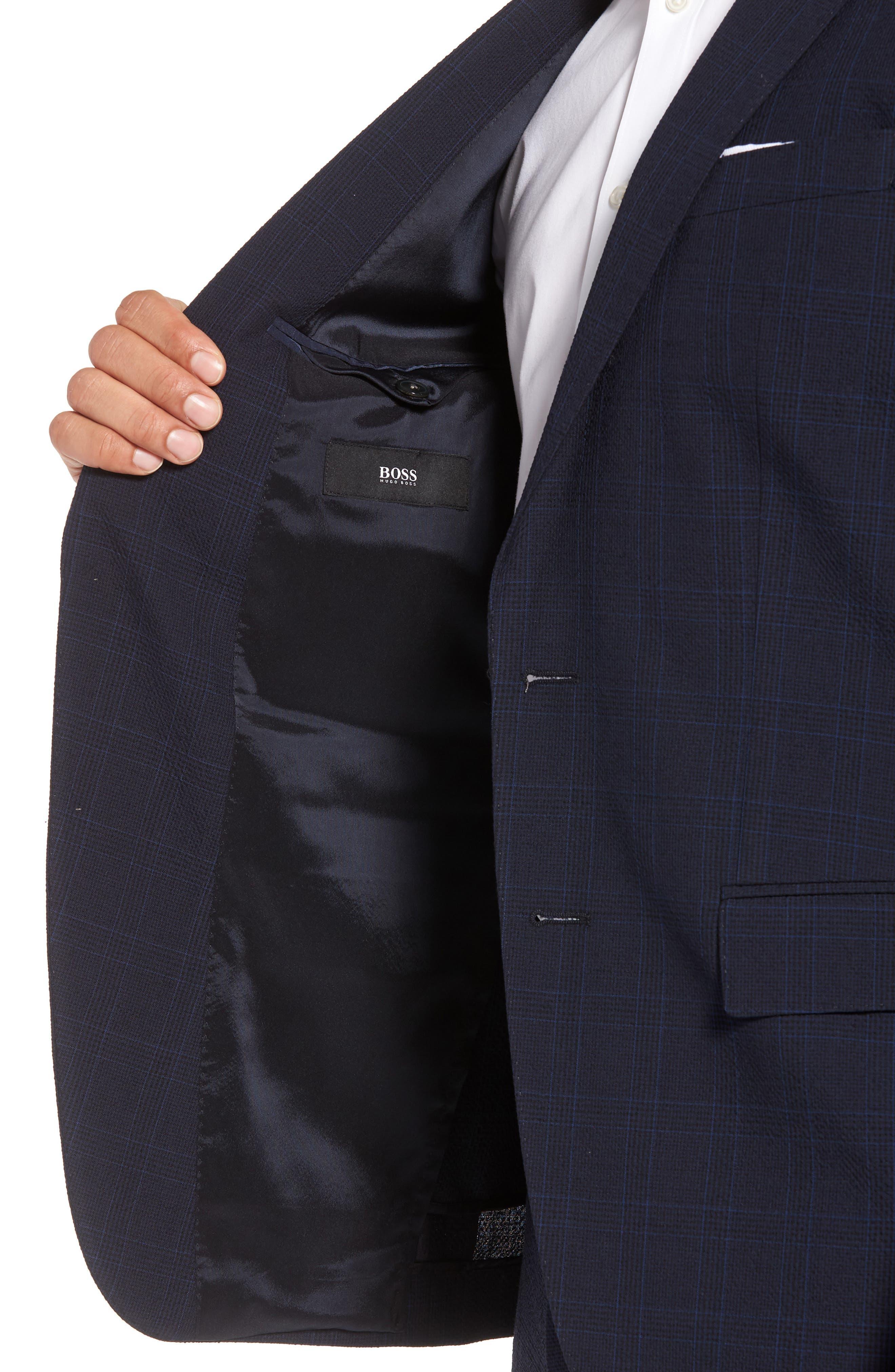 Helford/Gander Trim Fit Plaid Wool & Cotton Suit,                             Alternate thumbnail 4, color,