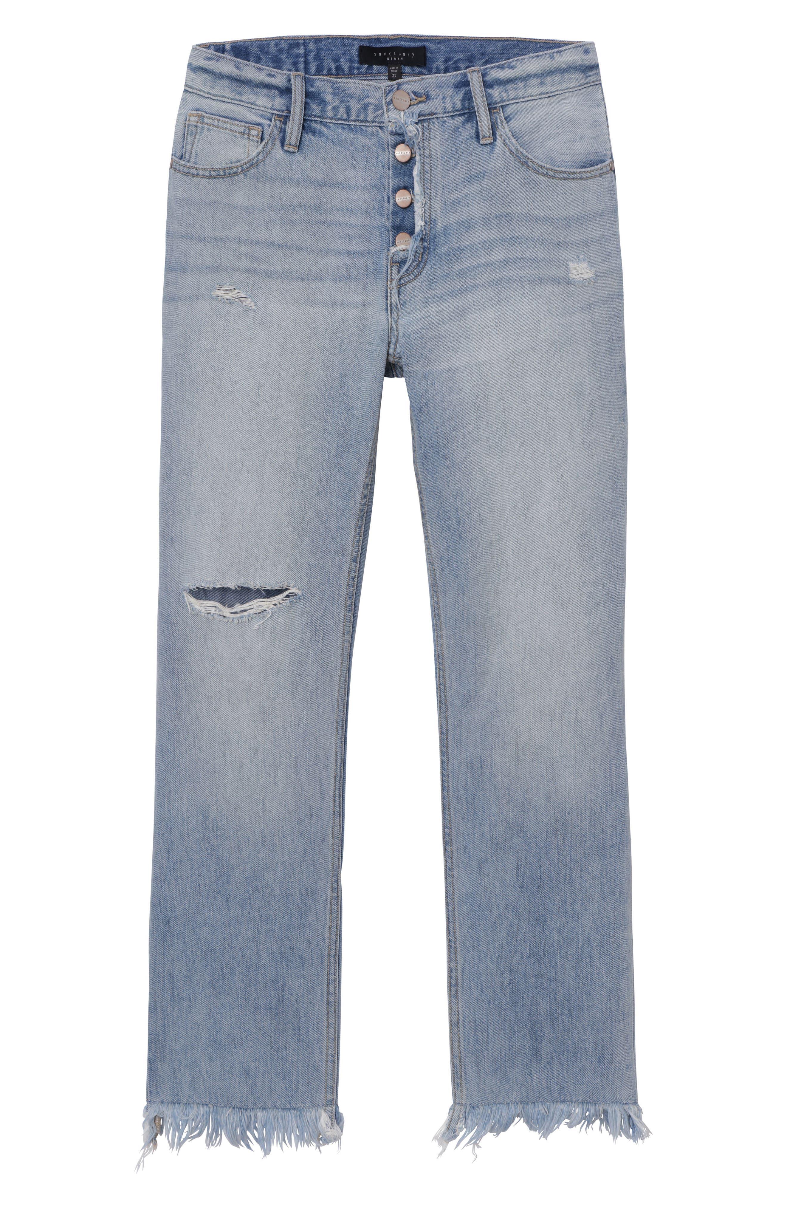 Straight Leg Fray Hem Boyfriend Jeans,                             Alternate thumbnail 4, color,                             451