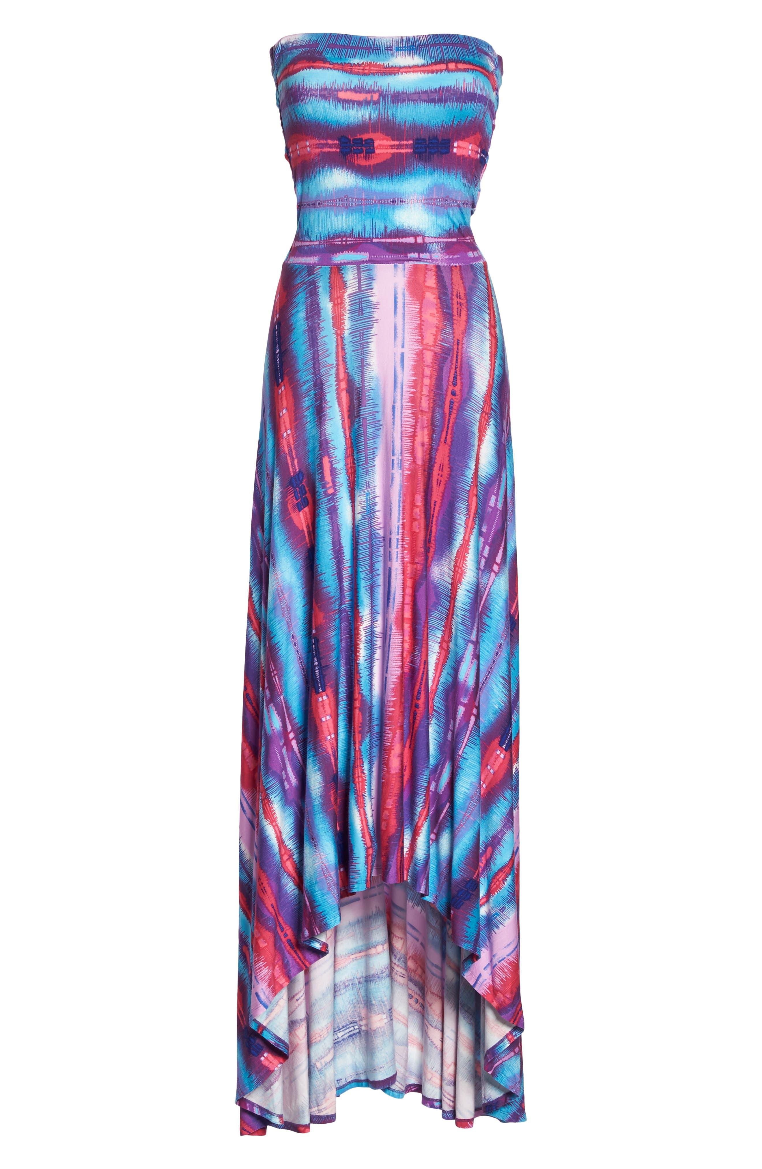 Strapless Neon Print Maxi Dress,                             Alternate thumbnail 7, color,                             429