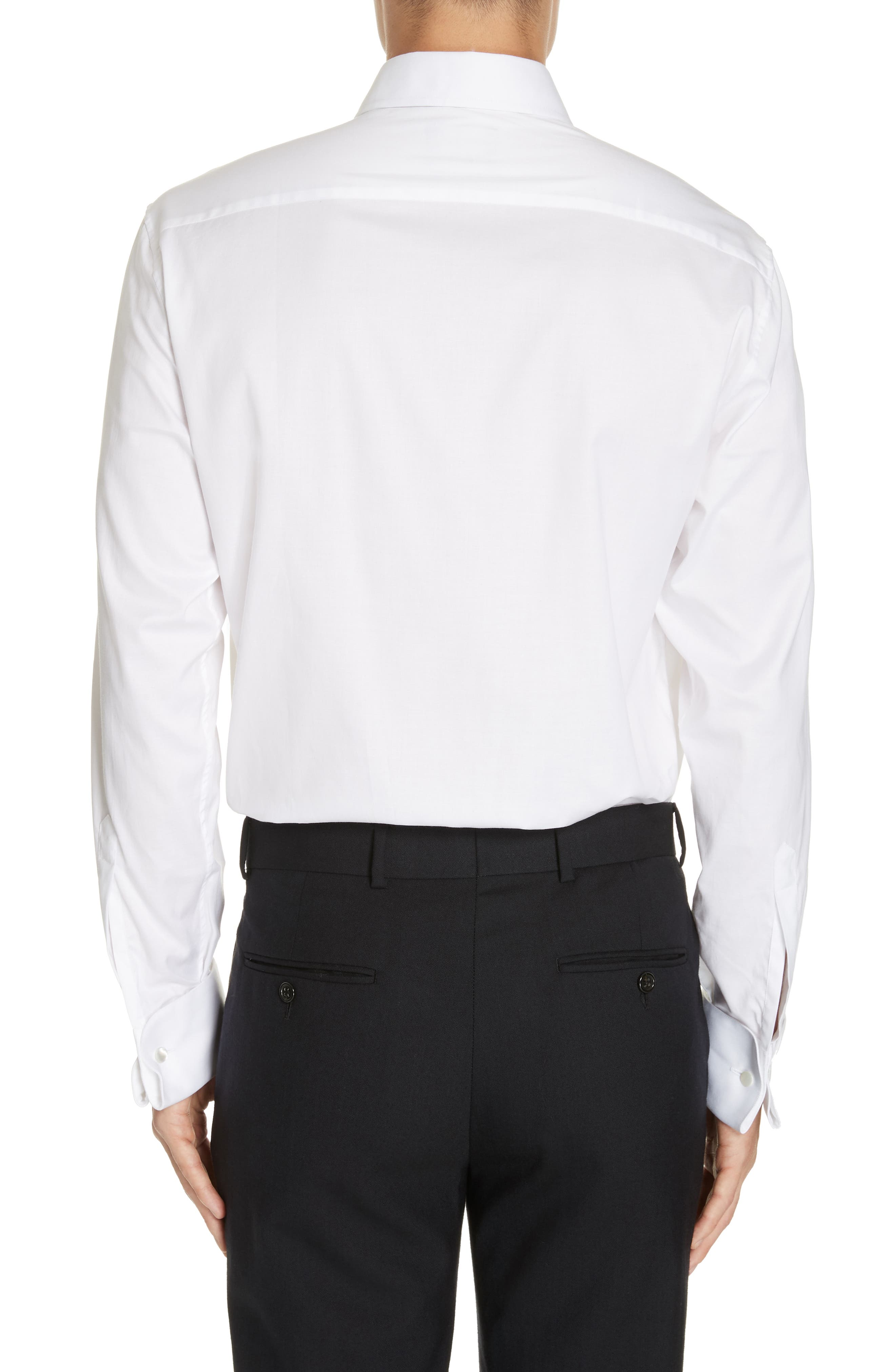 Trim Fit Stretch Tuxedo Shirt,                             Alternate thumbnail 3, color,                             SOLID WHITE