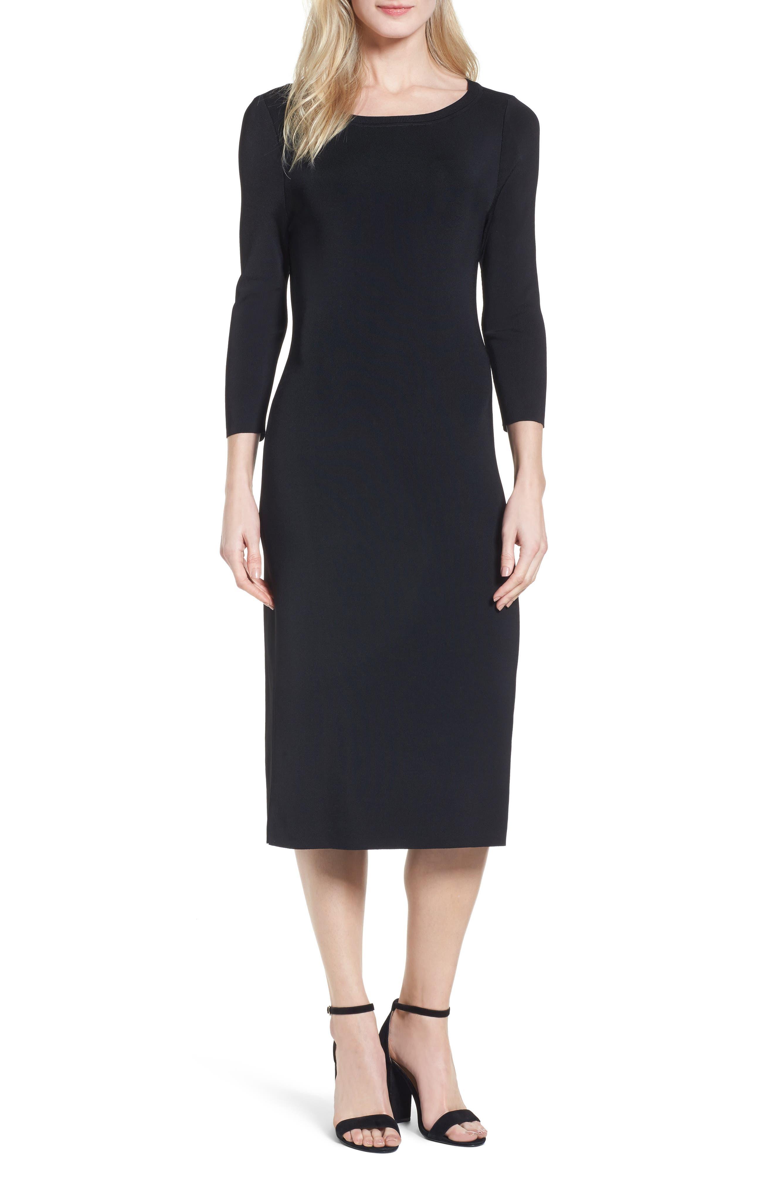 Bateau Neck Sweater Dress,                             Main thumbnail 1, color,                             001