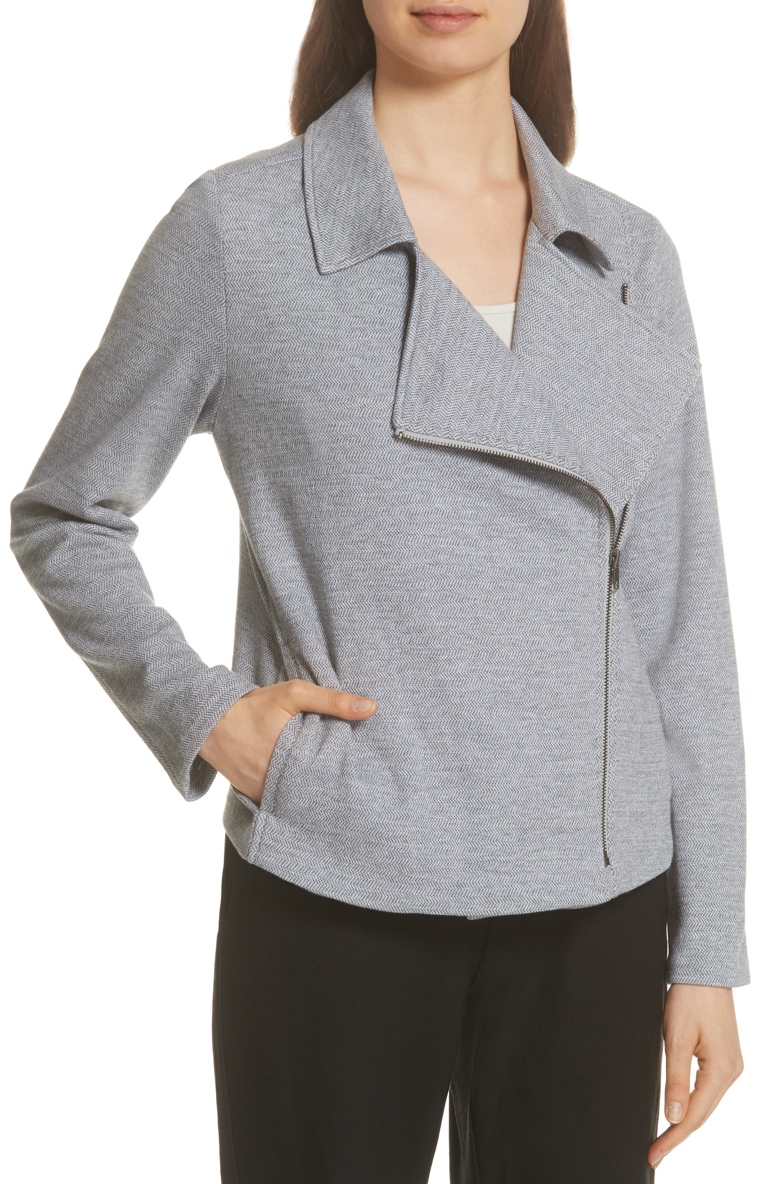 EILEEN FISHER,                             Organic Cotton Tweed Moto Jacket,                             Alternate thumbnail 4, color,                             087