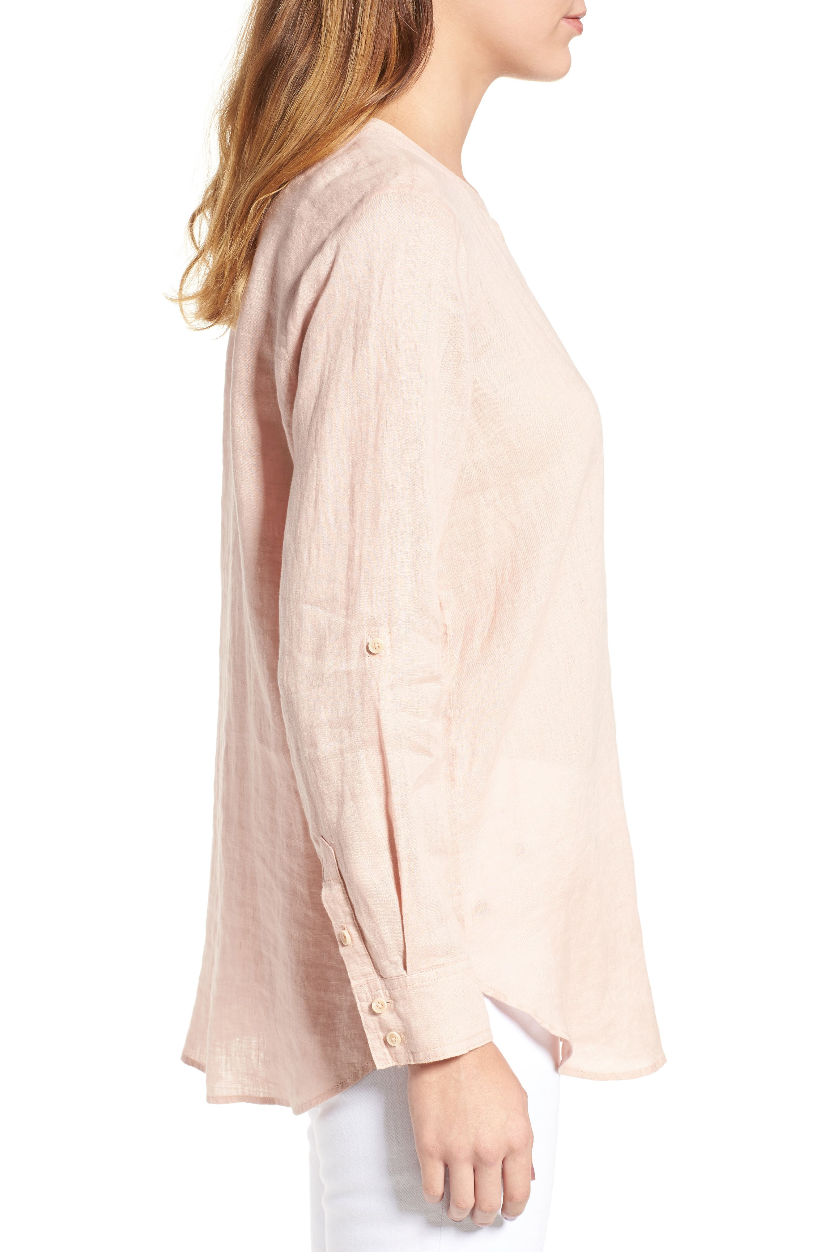 Two by Vince Camuto Collarless Linen Shirt,                             Alternate thumbnail 15, color,
