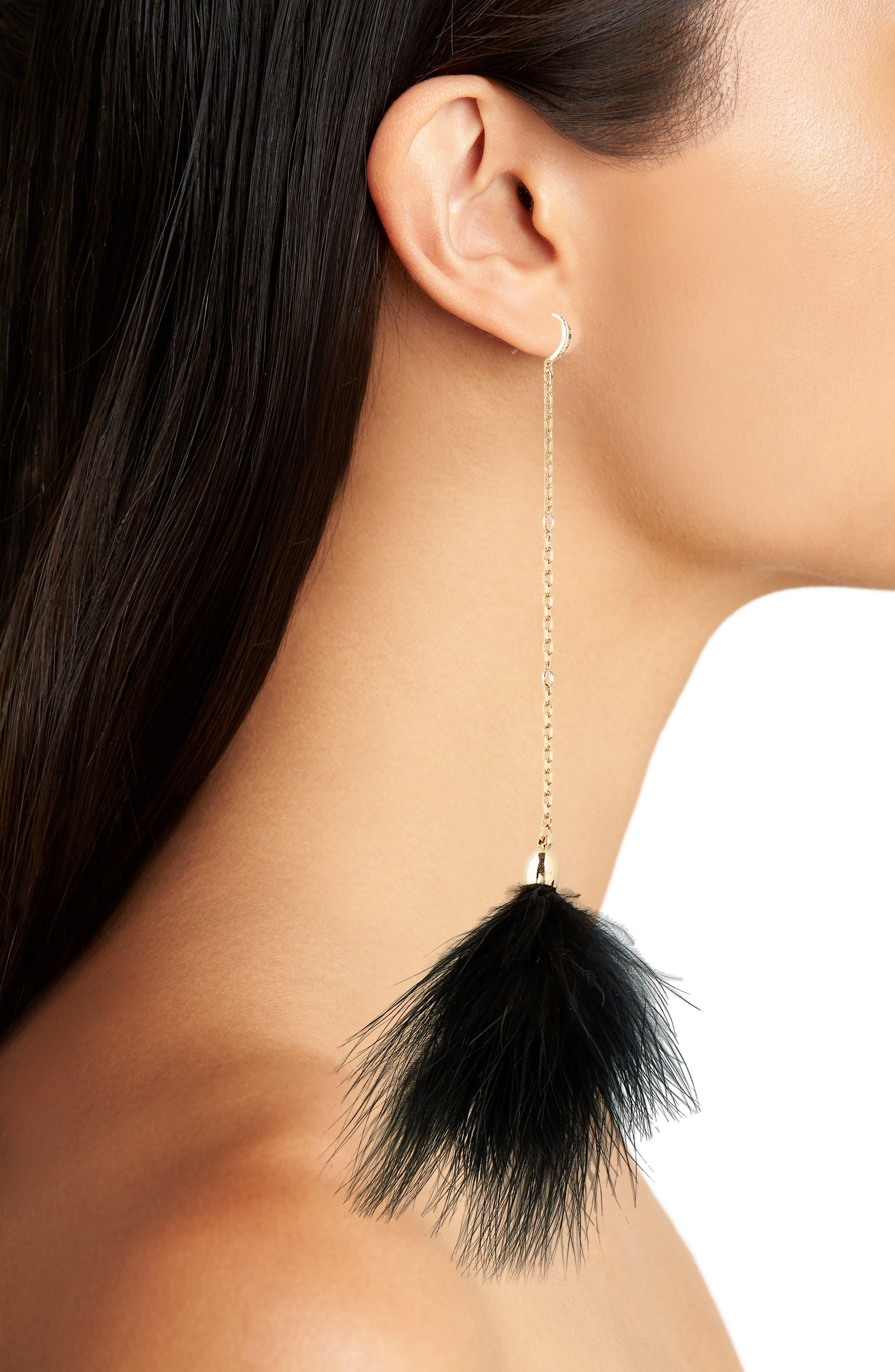 ETTIKA,                             18k Gold Plated Chain Pom Shoulder Duster Earrings,                             Alternate thumbnail 2, color,                             001