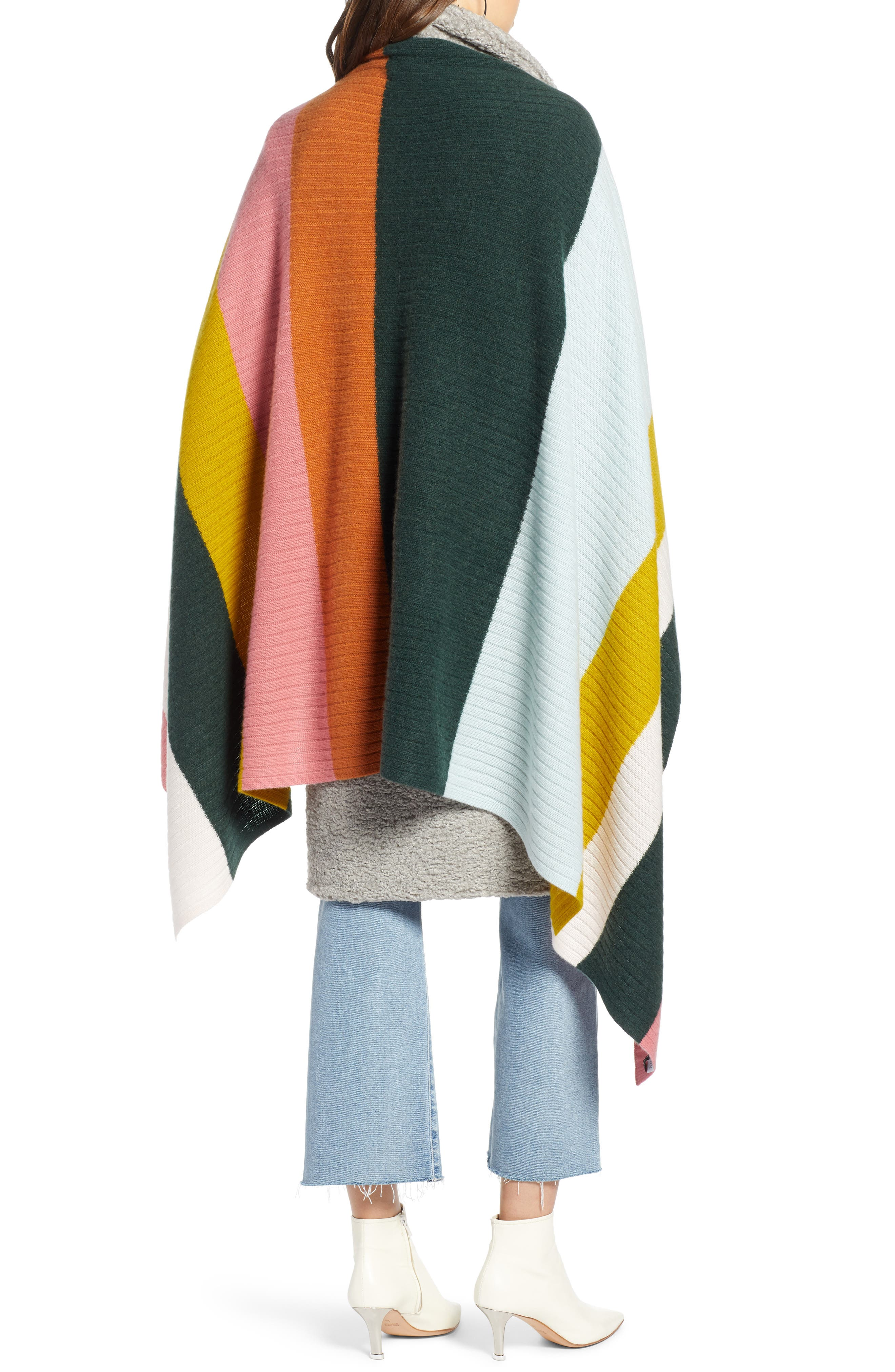 x Atlantic-Pacific Stripe Cashmere Wrap,                             Alternate thumbnail 3, color,                             660