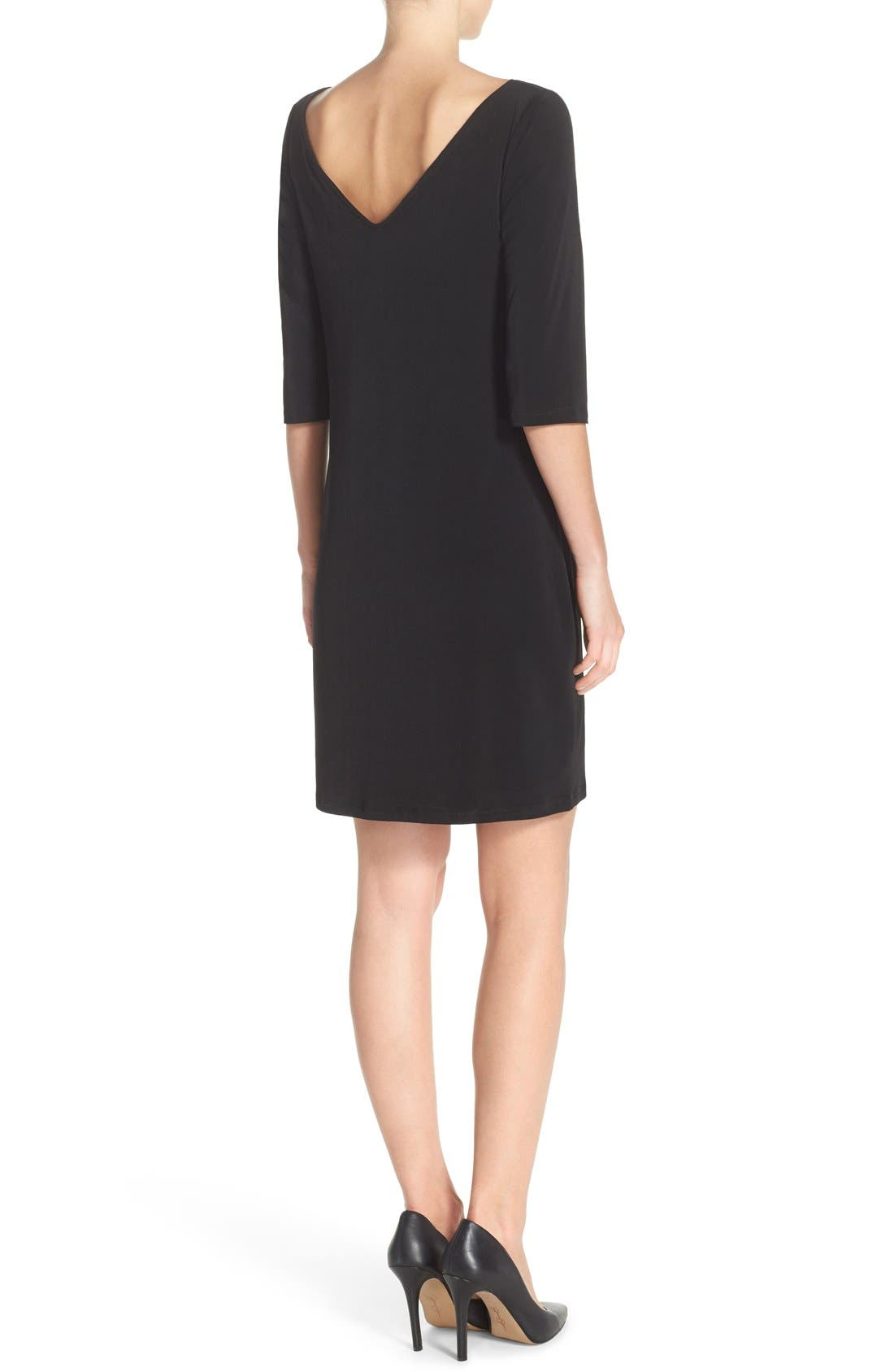 Dolman Sleeve Jersey Sheath Dress,                             Alternate thumbnail 3, color,                             BLACK
