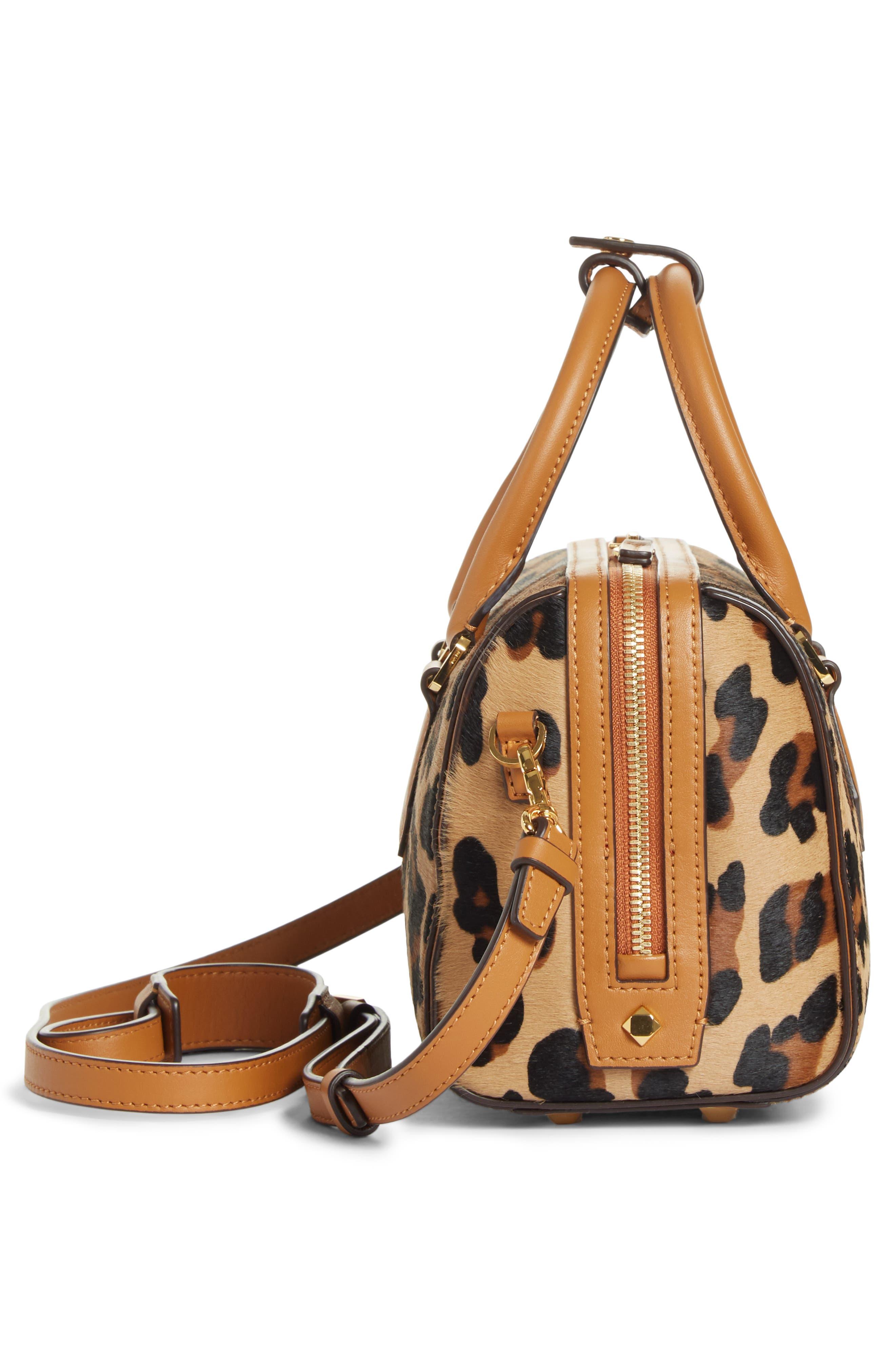 MCM,                             Small Boston Leopard Calf Hair Bowler Bag,                             Alternate thumbnail 7, color,                             LEOPARD
