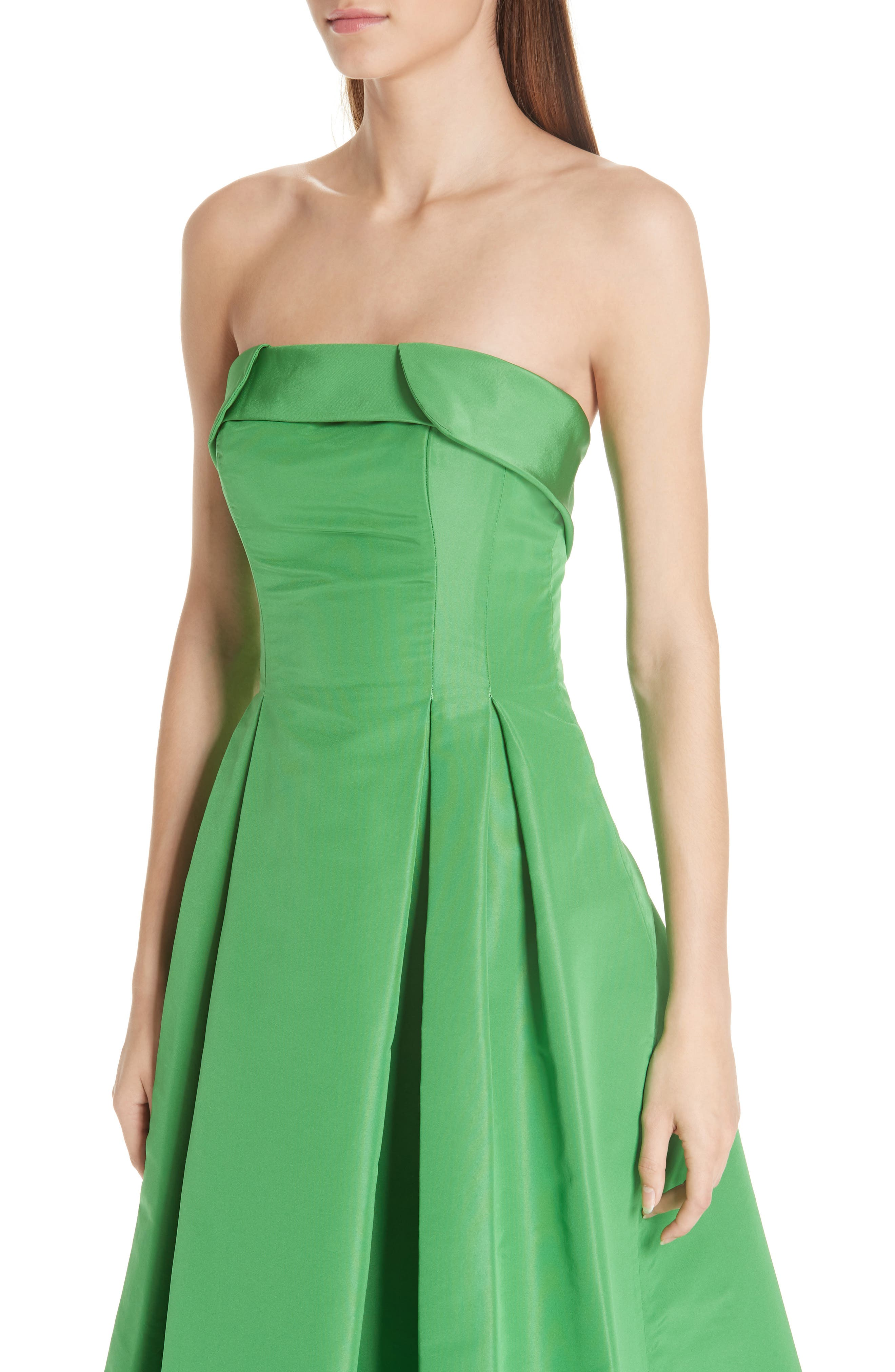 Foldover Strapless Ballgown,                             Alternate thumbnail 4, color,                             KELLY GREEN