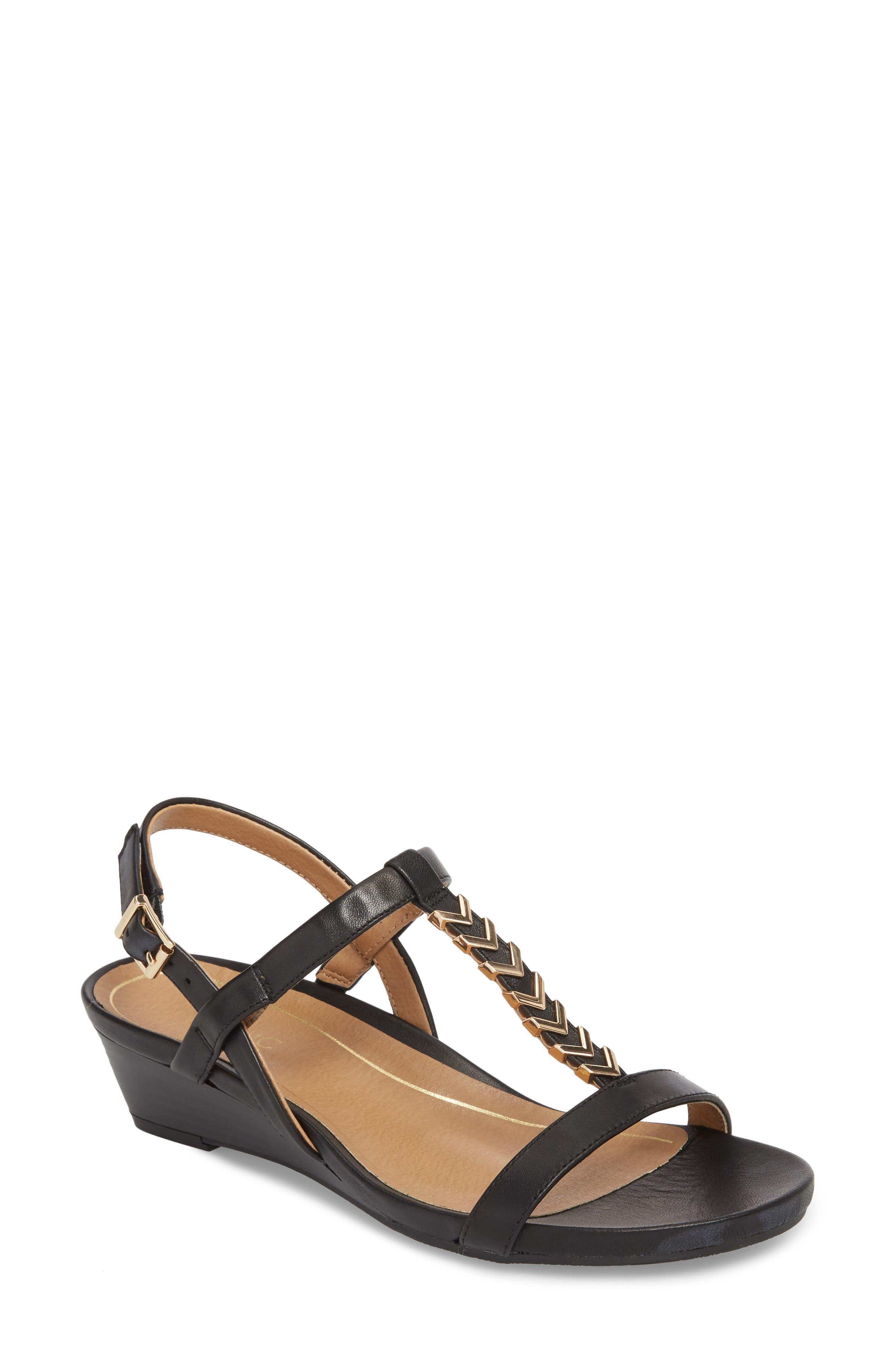 VIONIC Cali T-Strap Wedge Sandal, Main, color, 001