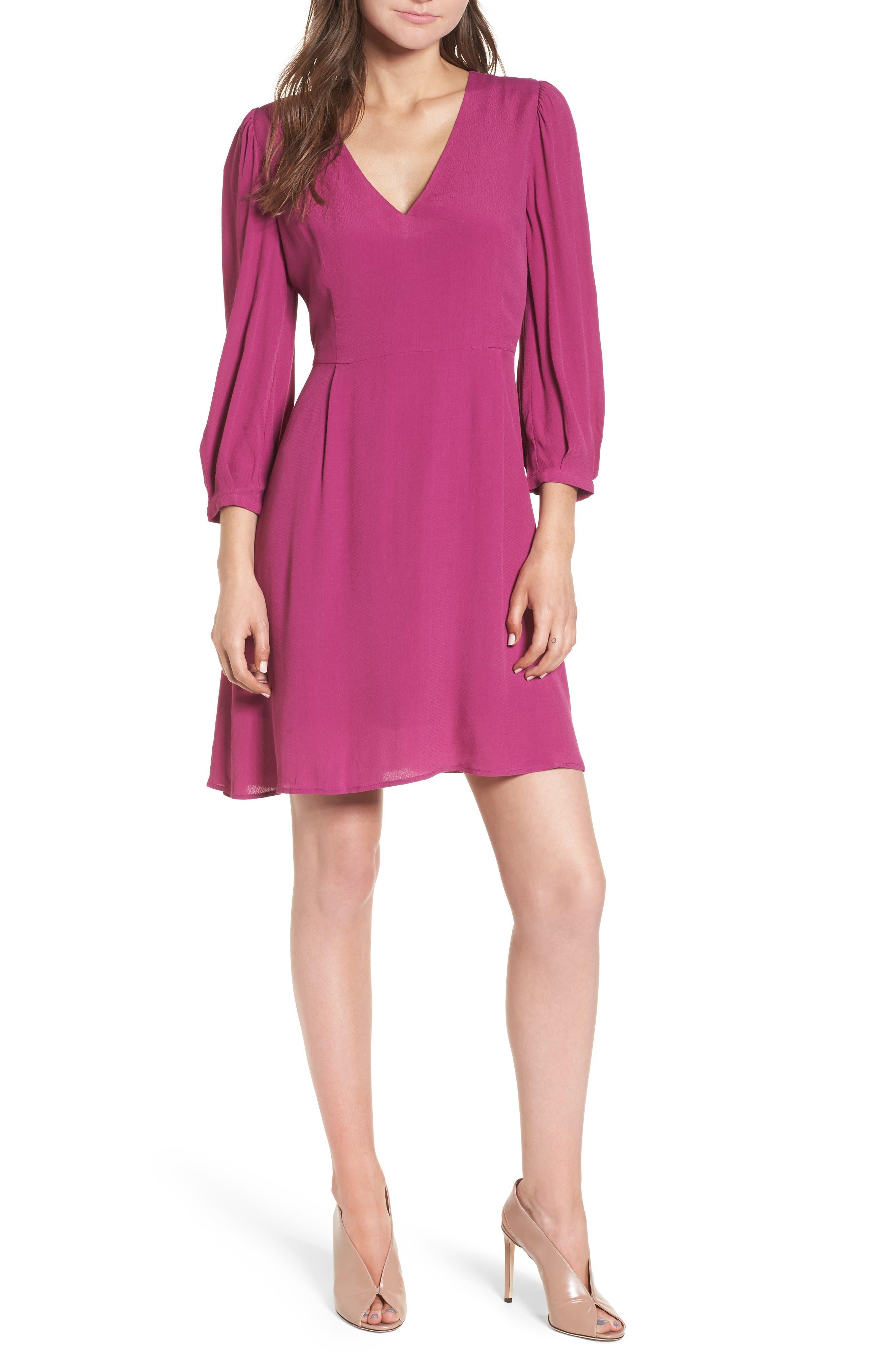 V-Neck Puff Sleeve Dress,                             Alternate thumbnail 5, color,                             510
