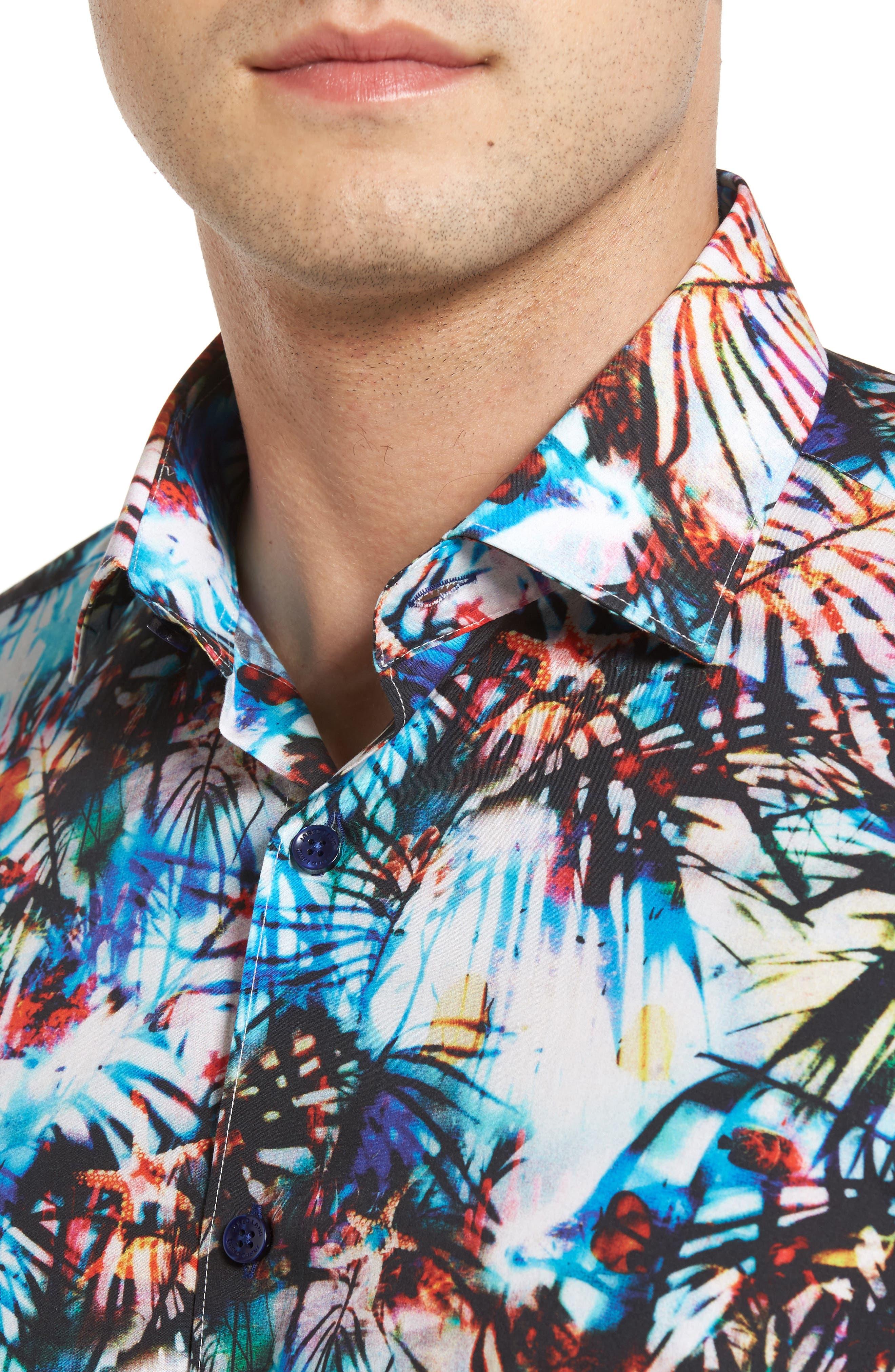 Trim Fit Print Sport Shirt,                             Alternate thumbnail 4, color,                             100