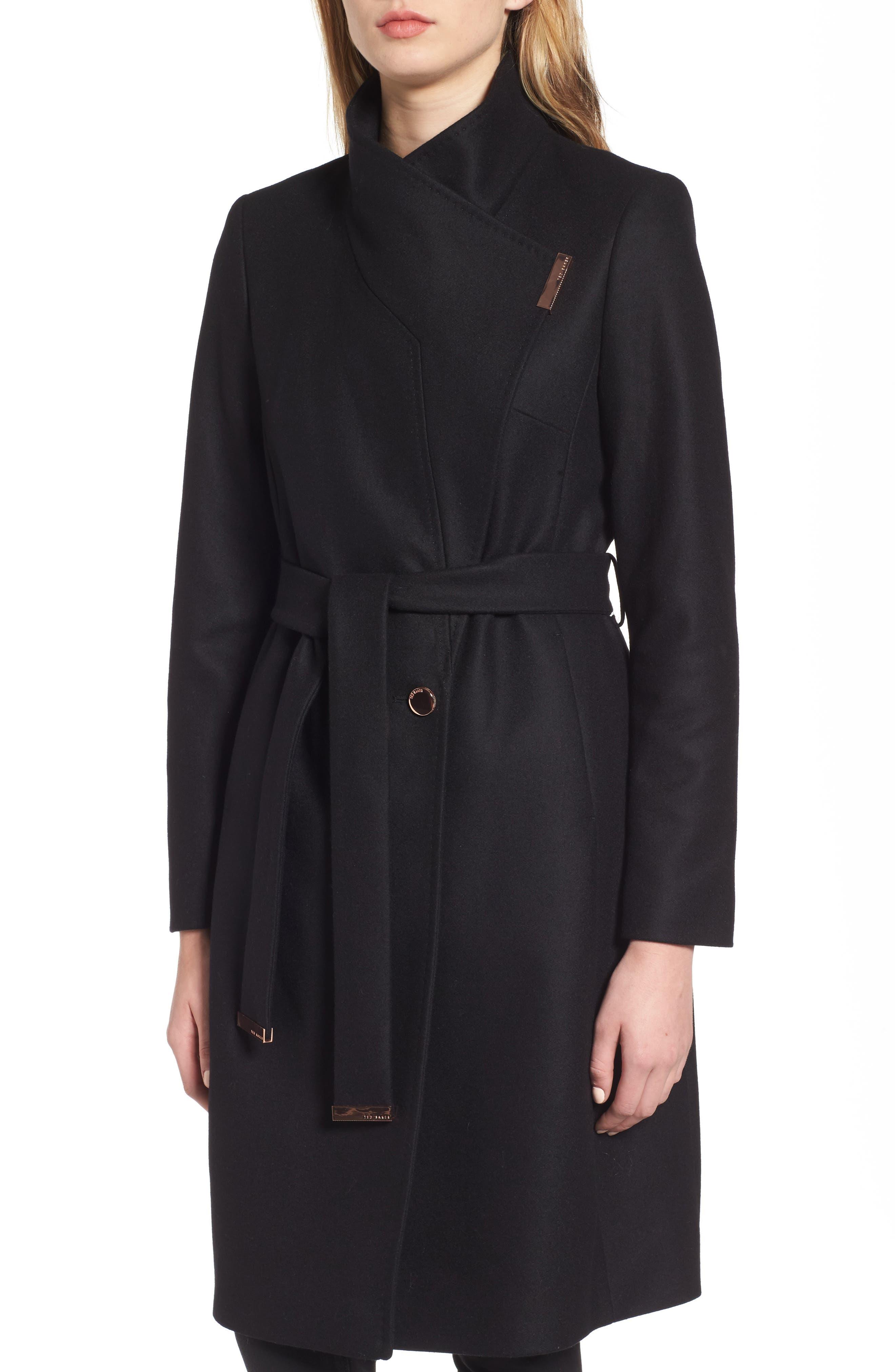 Wool Blend Long Wrap Coat,                             Alternate thumbnail 4, color,                             BLACK