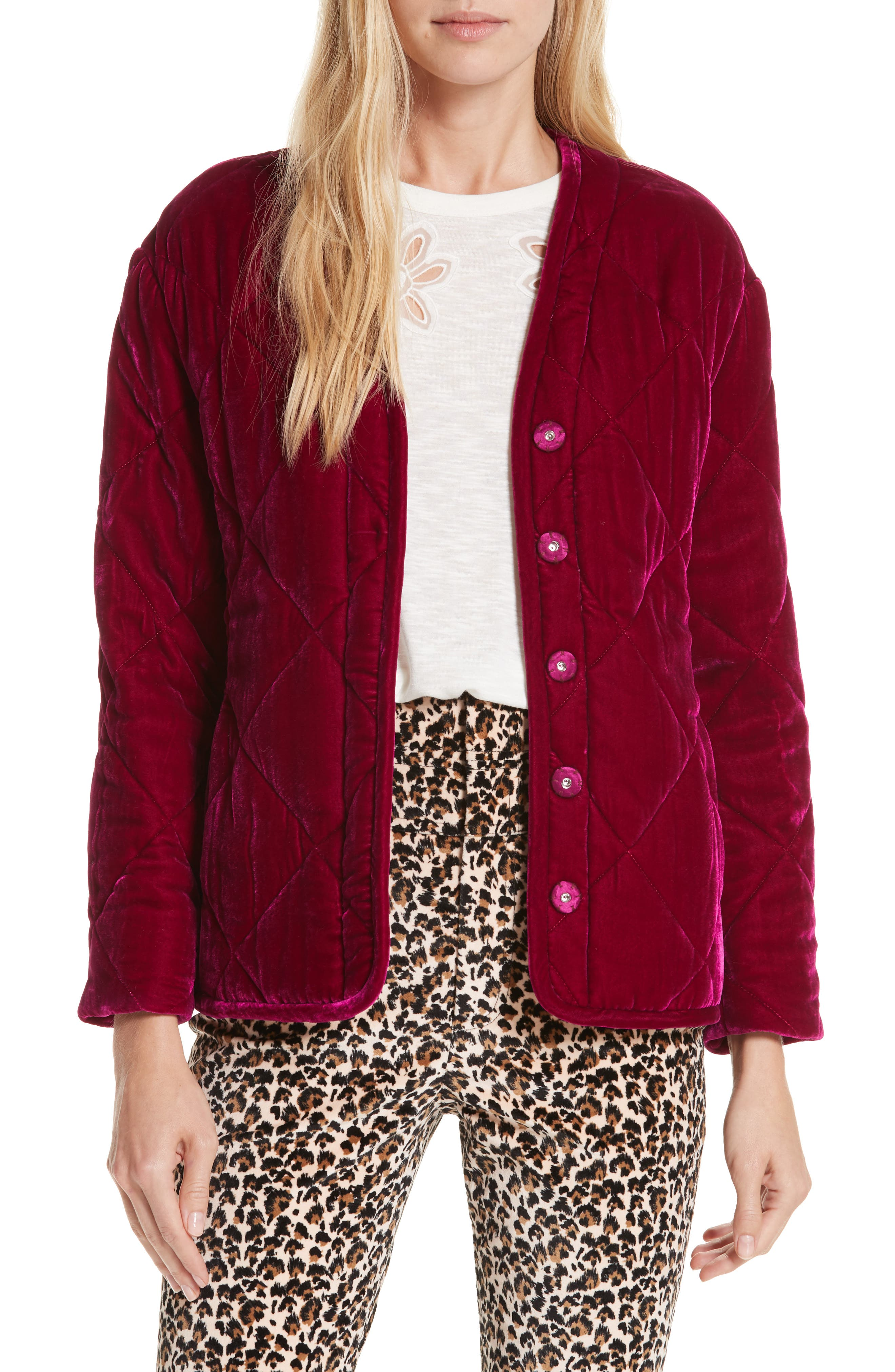 Quilted Velvet Jacket,                         Main,                         color, 600