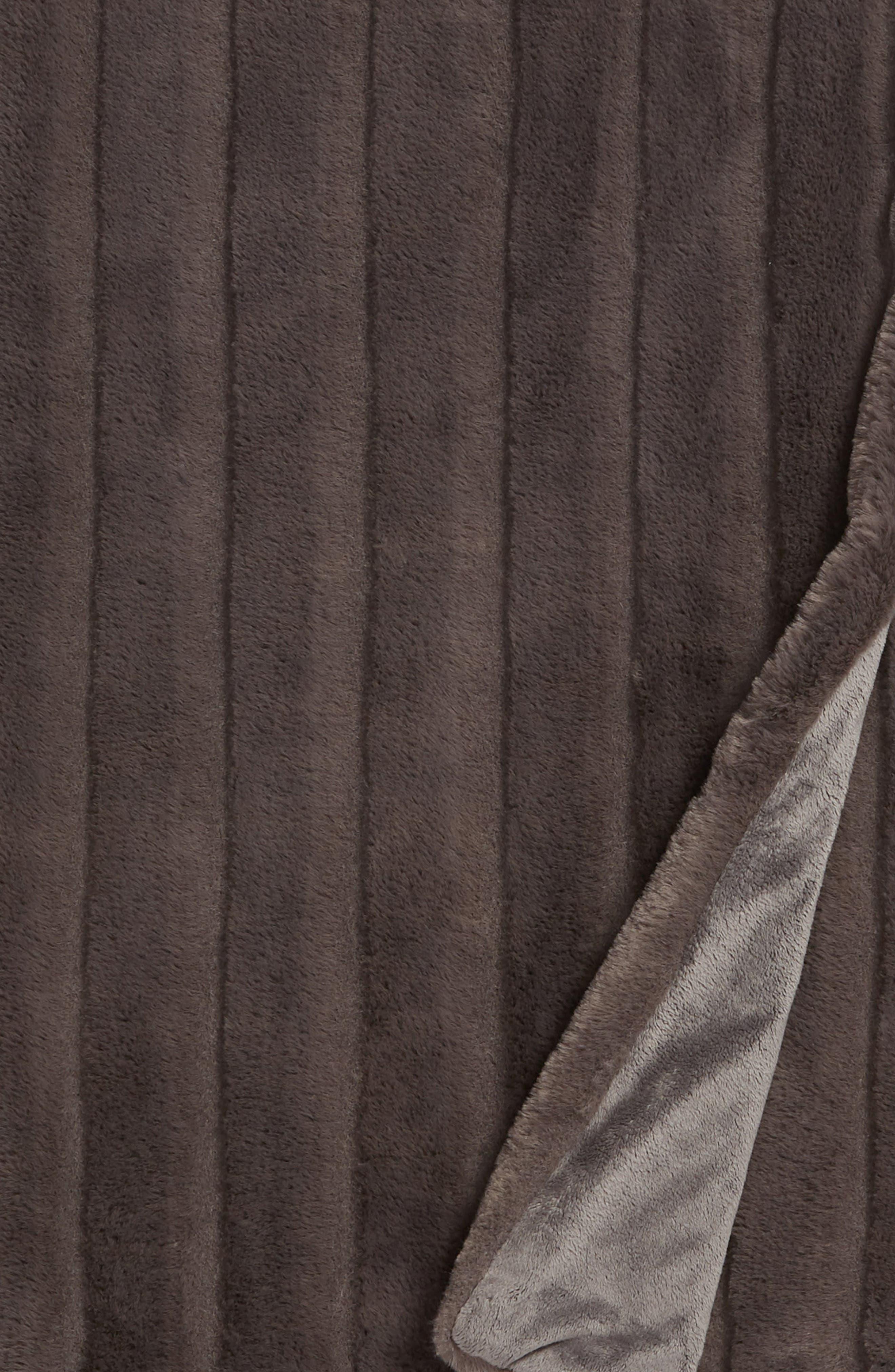Sheared Stripe Faux Fur Throw,                             Alternate thumbnail 2, color,                             GREY MAGNET