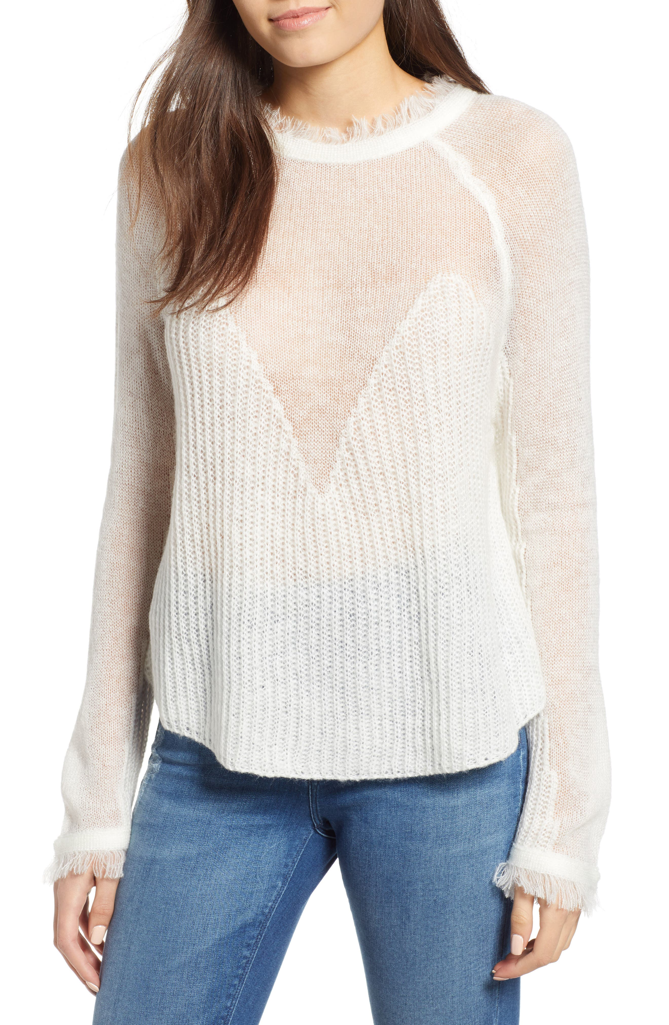 Fringed Sweater,                             Main thumbnail 1, color,                             IVORY