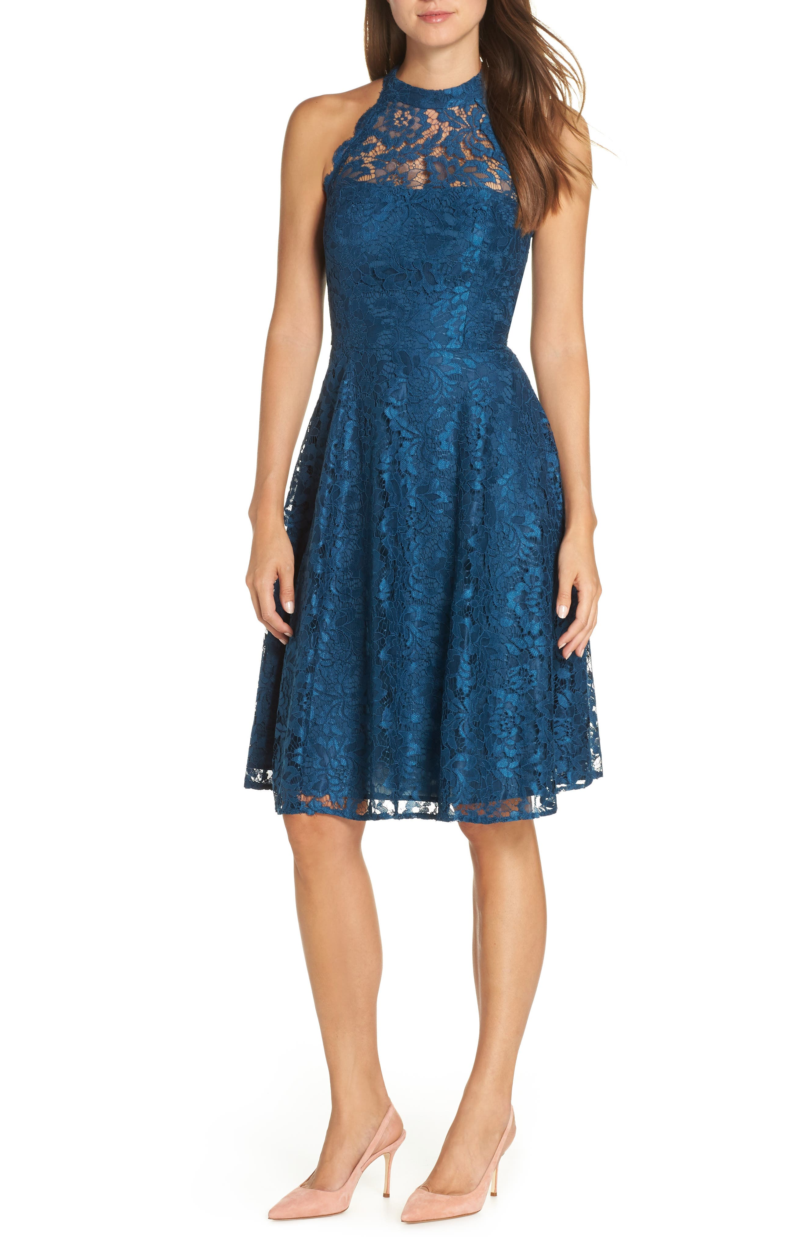 Eliza J Halter Neck Lace Fit And Flare Dress, Blue/green