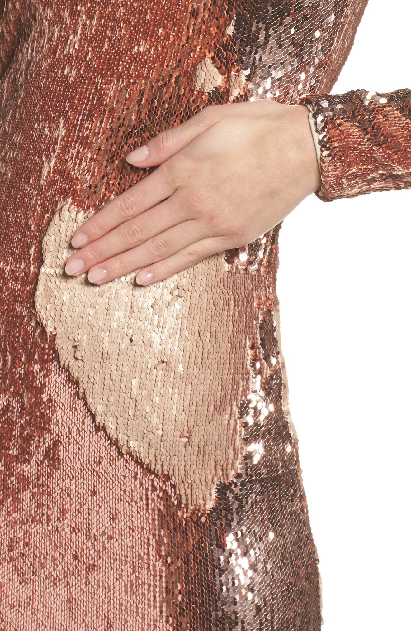 Katy Reversible Sequin Body-Con Dress,                             Alternate thumbnail 4, color,                             ROSE GOLD/ NUDE