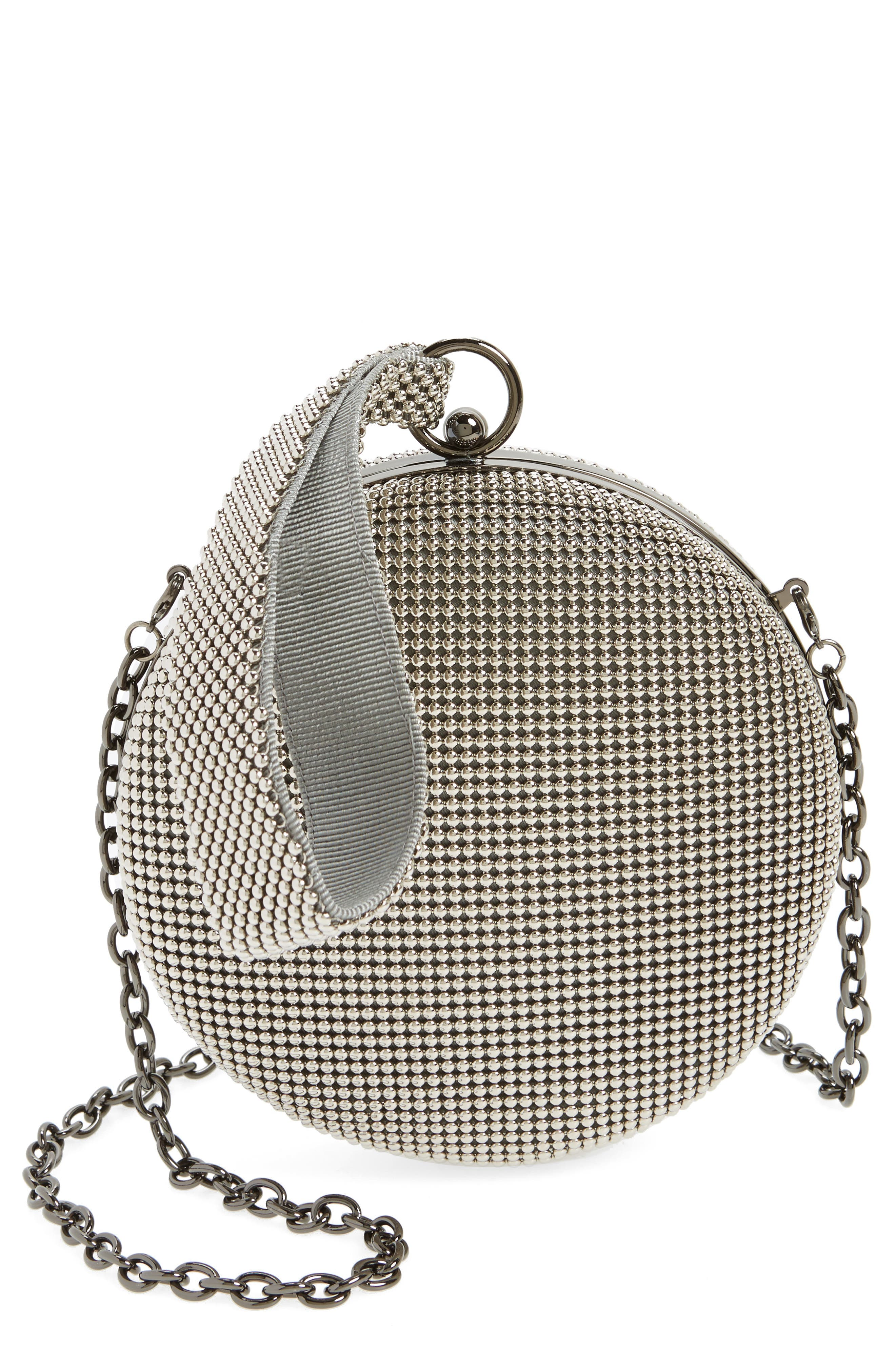 Canteen Mesh Ball Minaudière,                             Main thumbnail 1, color,                             PEWTER