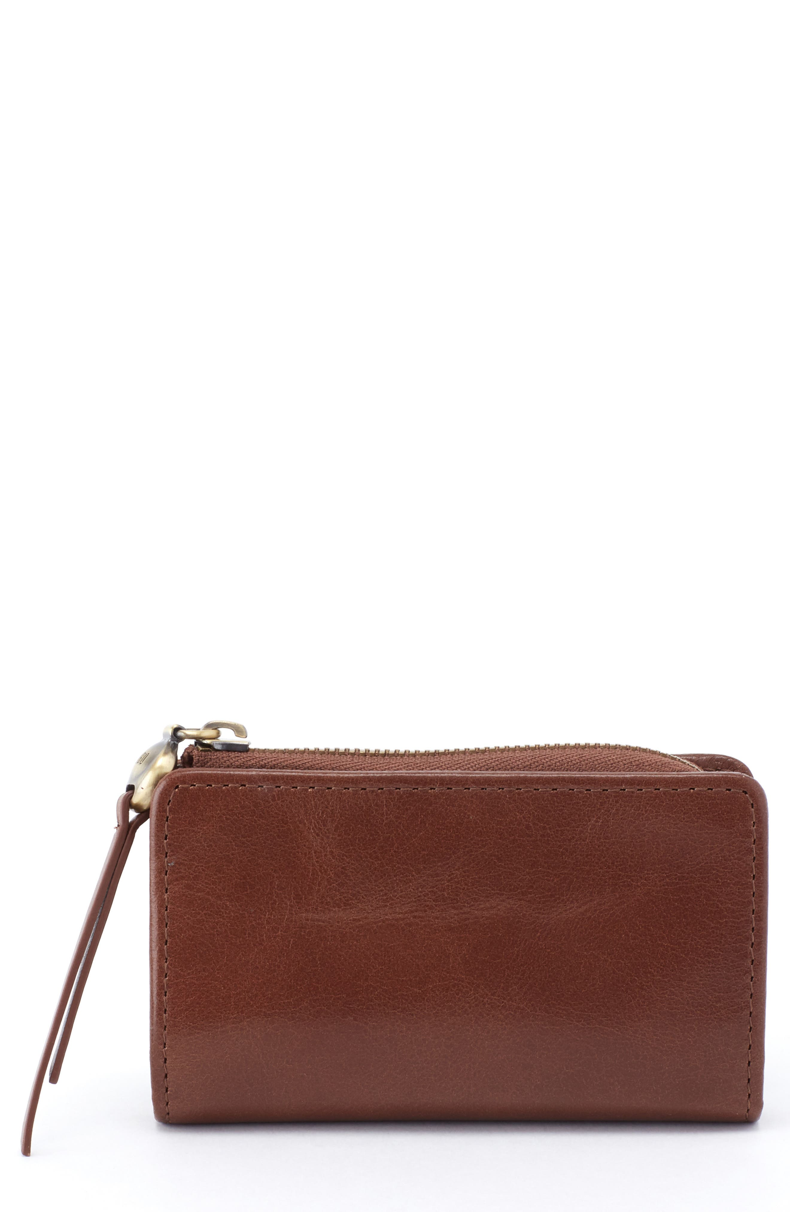 Dart Calfskin Leather Wallet,                             Main thumbnail 1, color,                             WOODLANDS