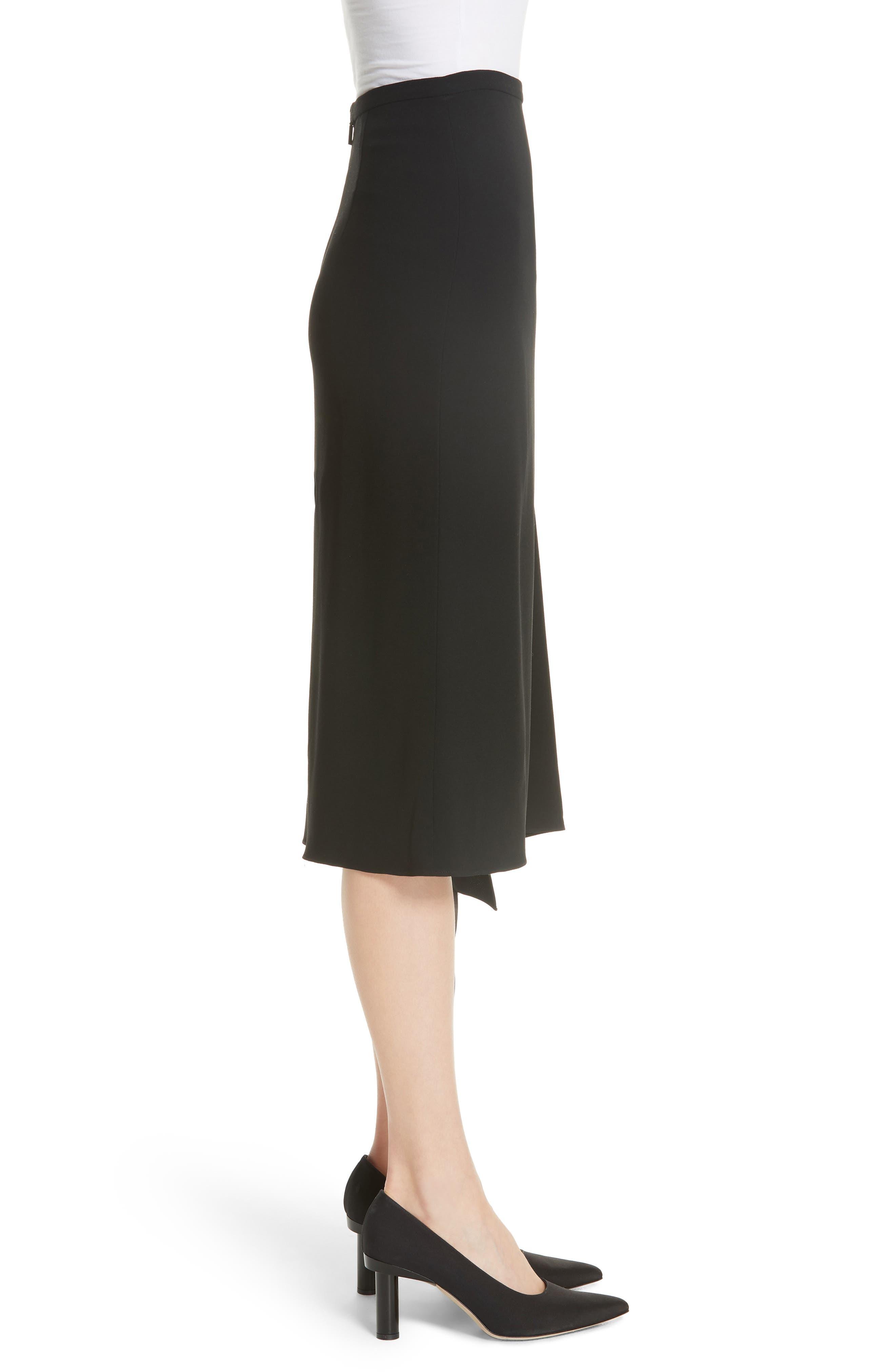 TIBI,                             Shoelace Fringe Skirt,                             Alternate thumbnail 3, color,                             BLACK