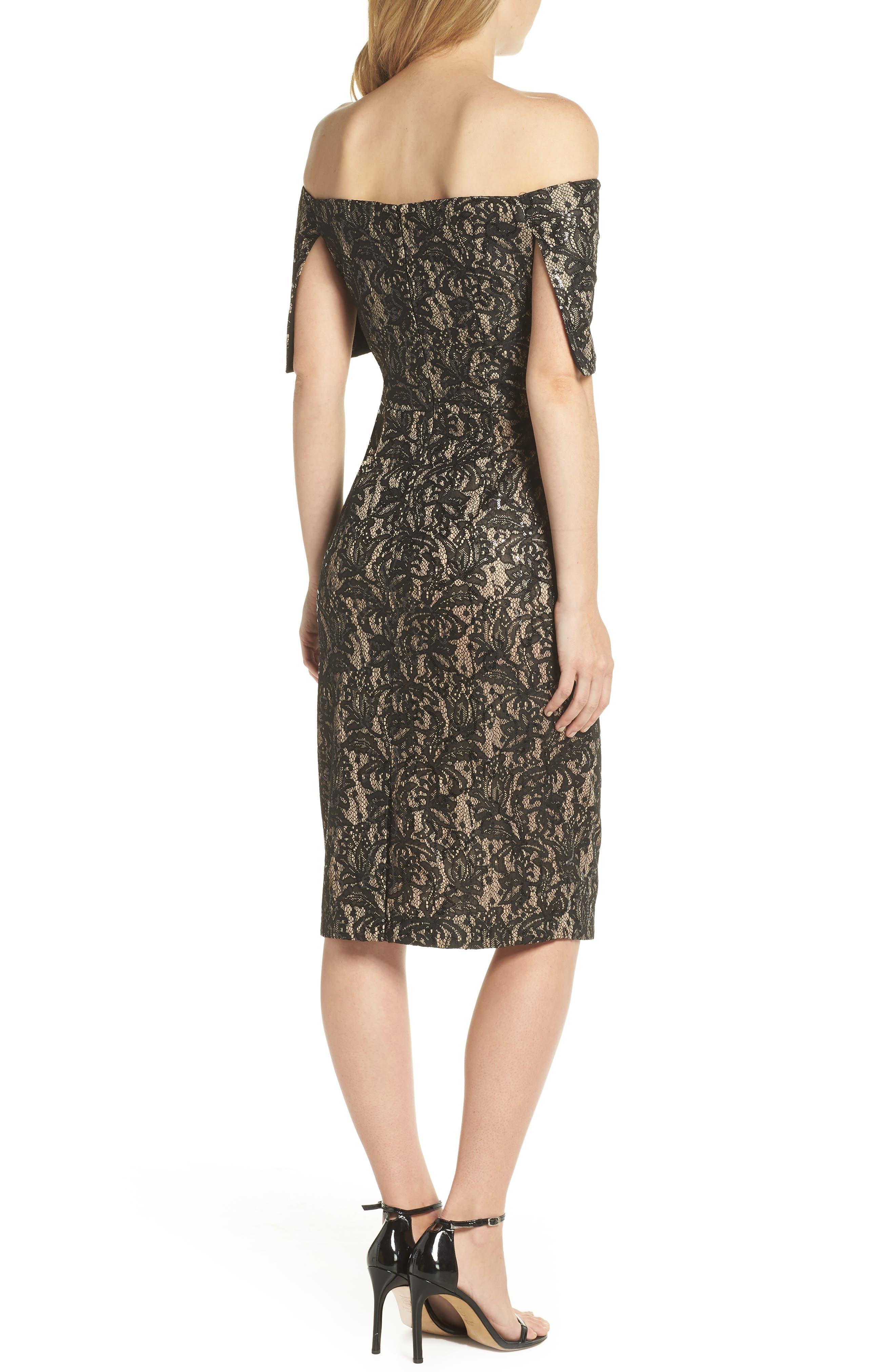 Off the Shoulder Lace Sheath Dress,                             Alternate thumbnail 2, color,                             BLACK TAN