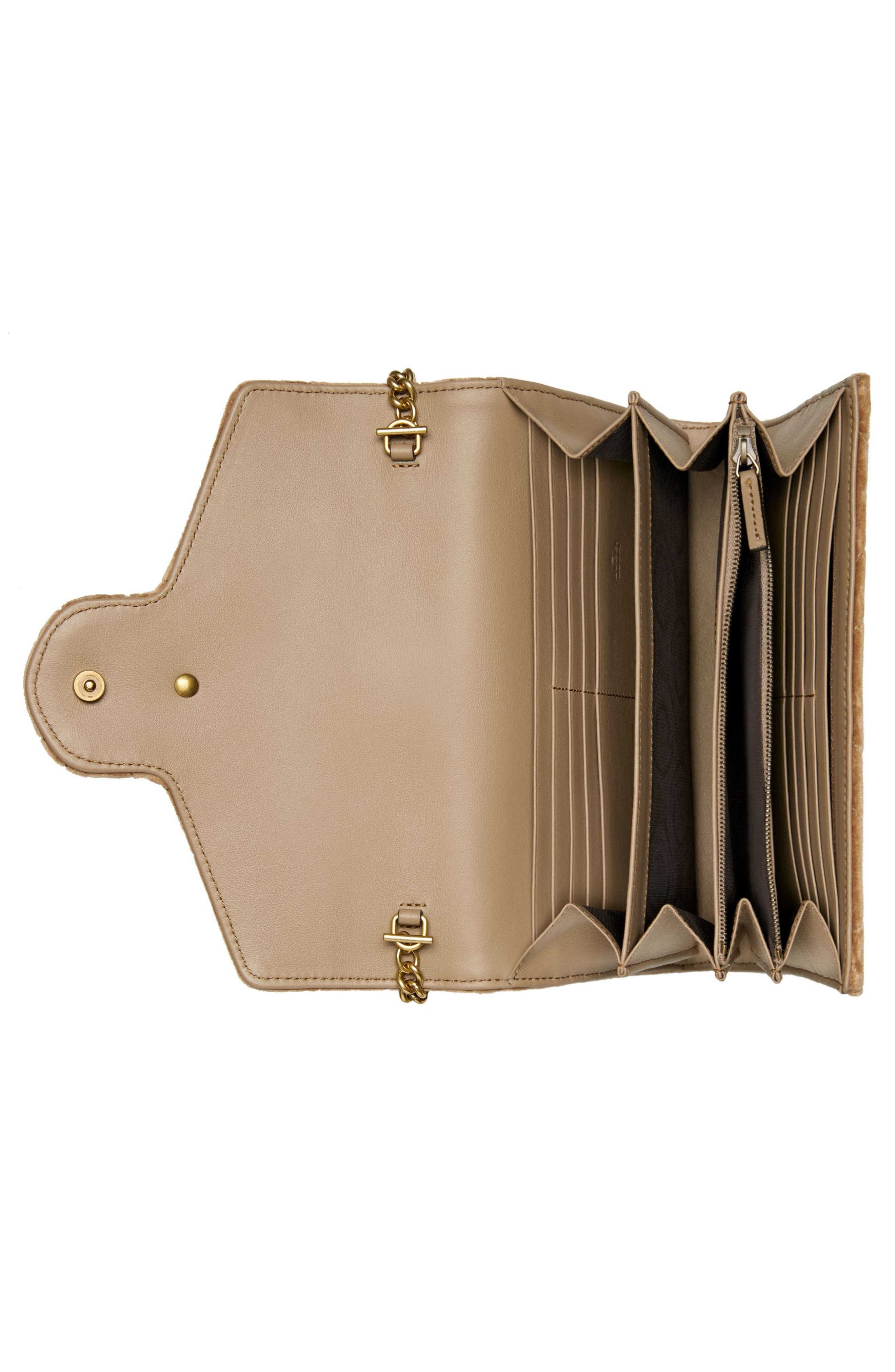 GG Marmont 2.0 Matelassé Velvet Wallet on a Chain,                             Alternate thumbnail 2, color,                             TAUPE/ TAUPE