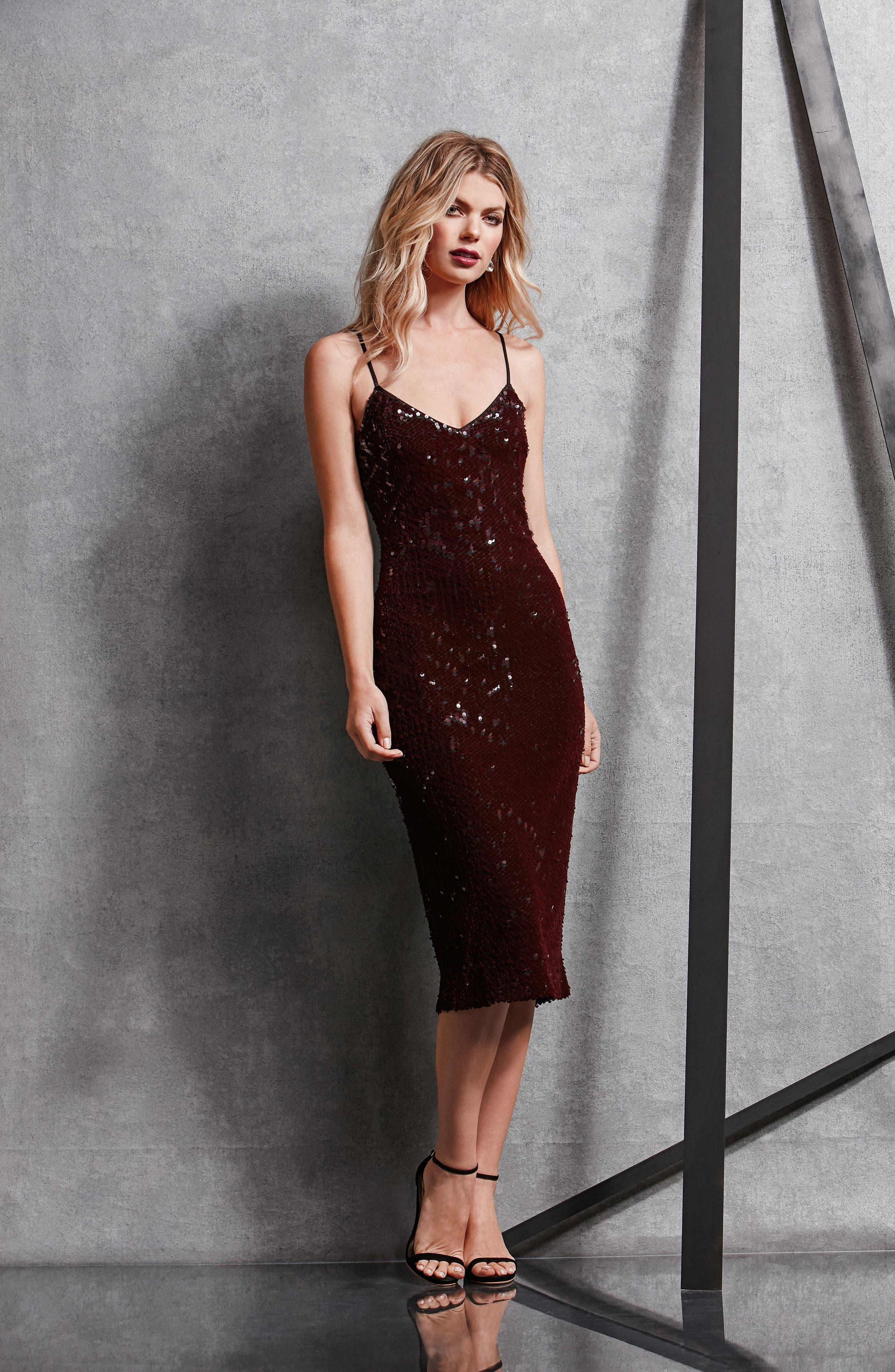 Nina Sequin Velvet Body-Con Dress,                             Alternate thumbnail 18, color,