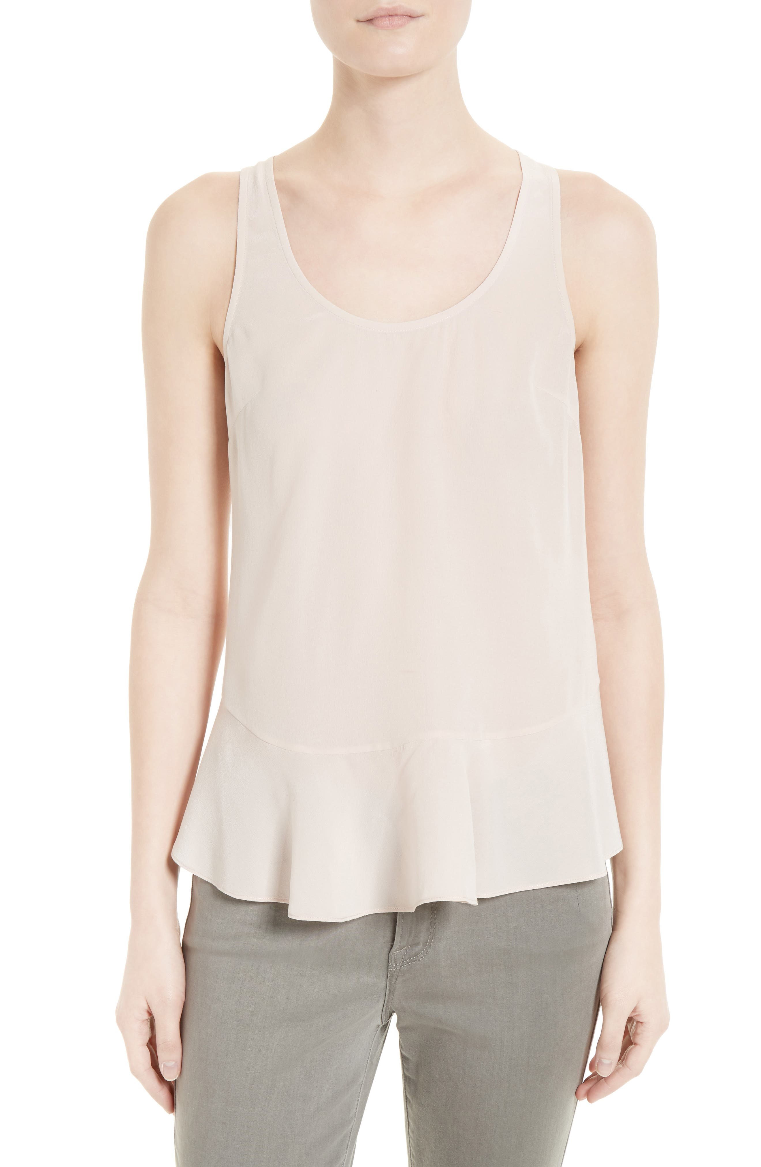 Cosma Silk Flounce Hem Tank,                             Main thumbnail 2, color,