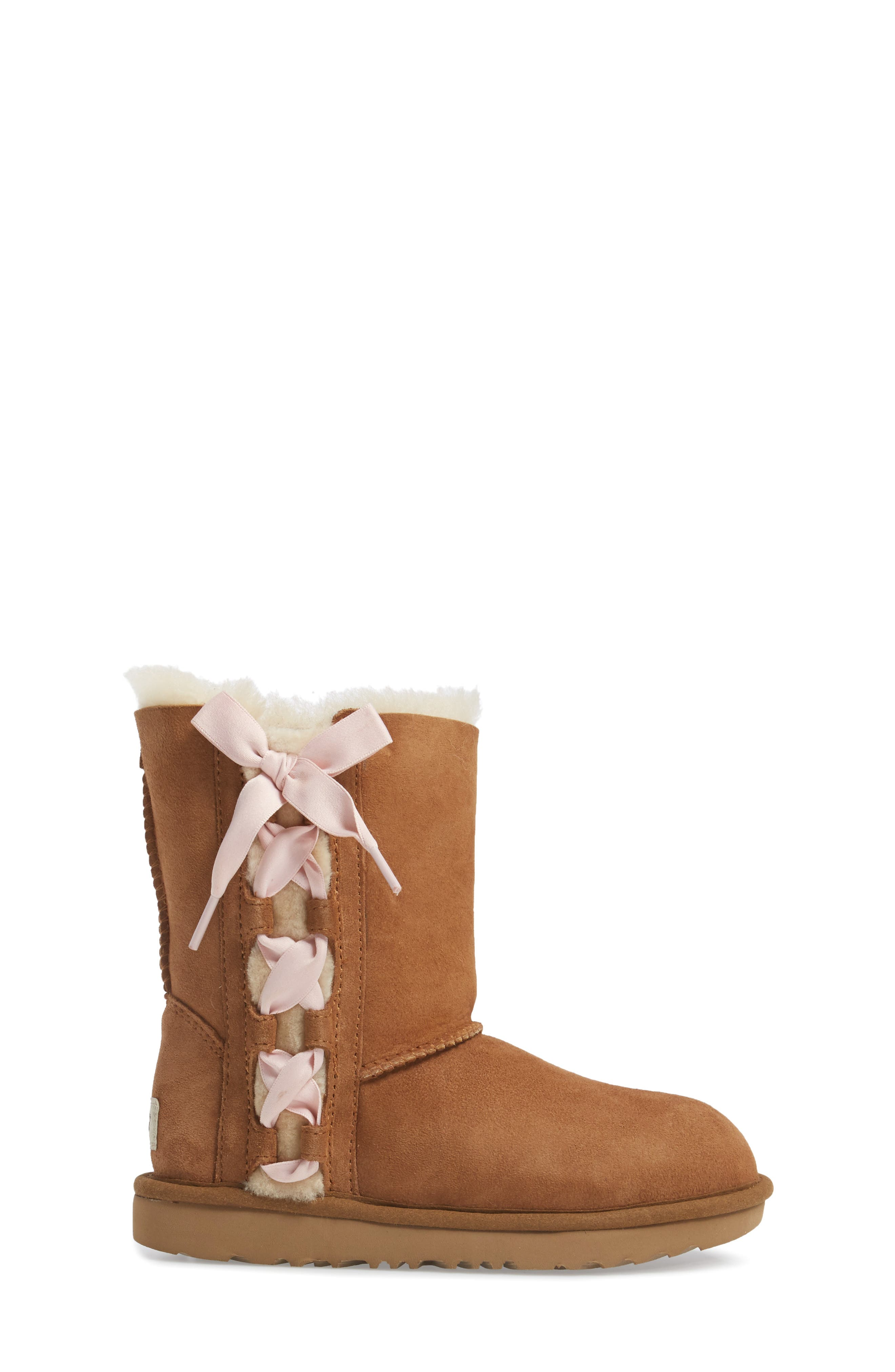 Pala Water-Resistant Genuine Shearling Boot,                             Alternate thumbnail 3, color,                             CHESTNUT