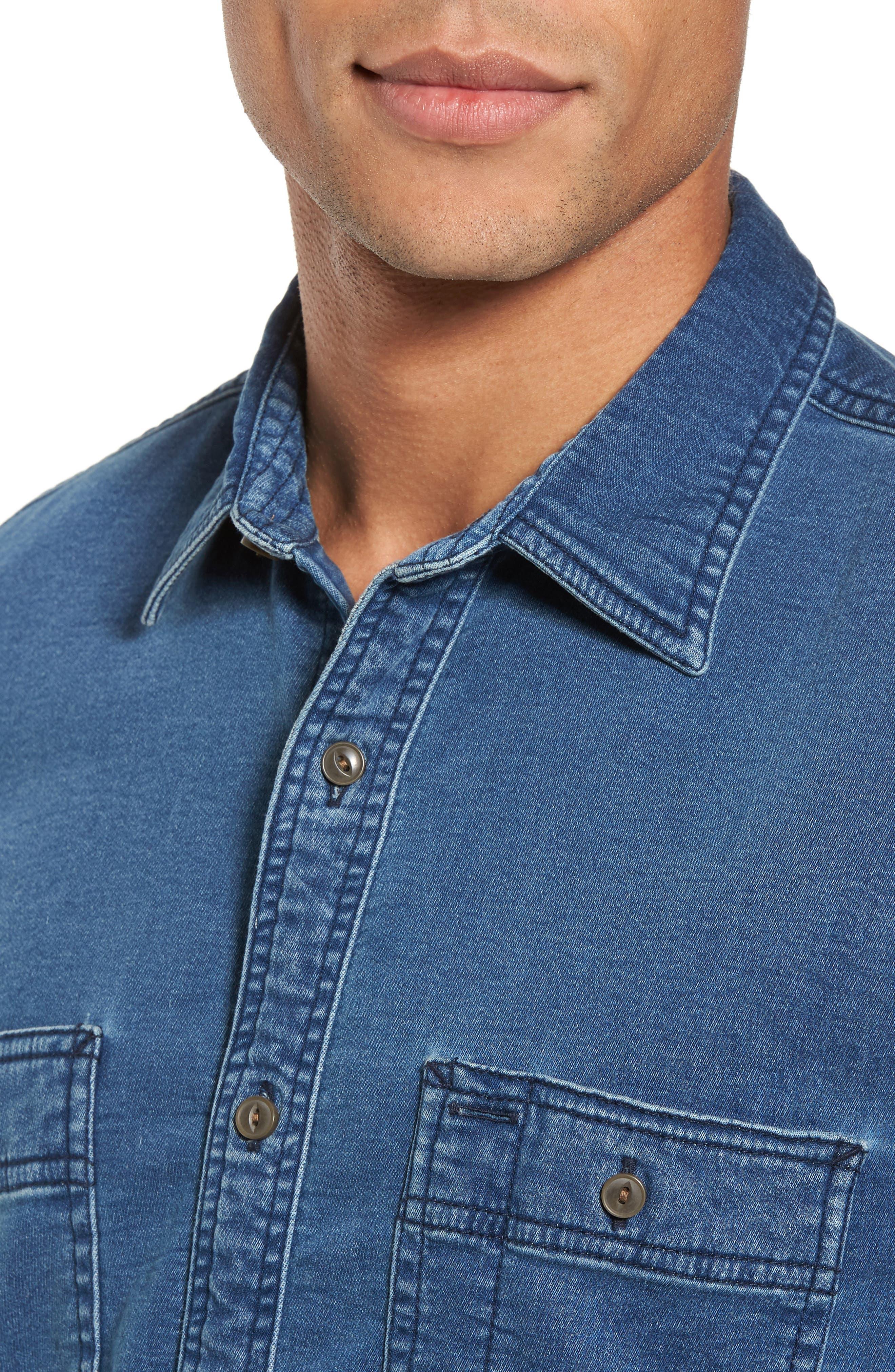 Trim Fit Utility Wash Knit Denim Shirt,                             Alternate thumbnail 4, color,