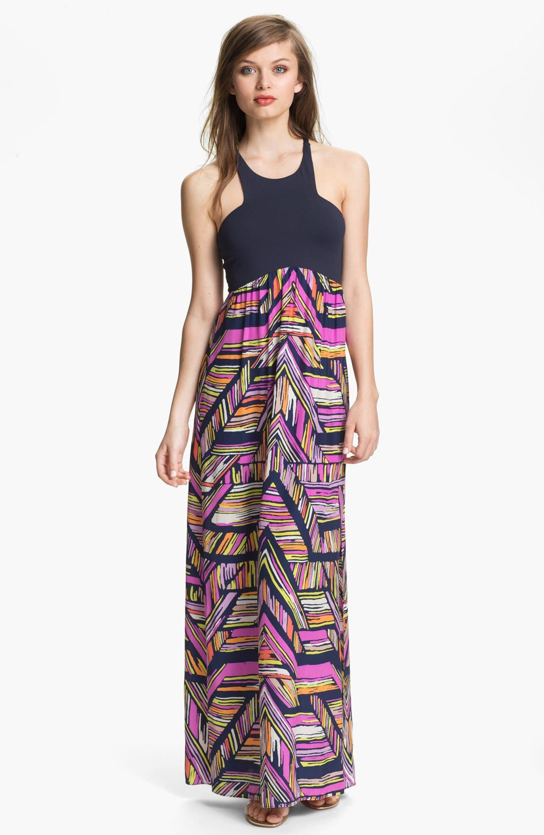 'Nia' Print Cutaway Maxi Dress, Main, color, 410