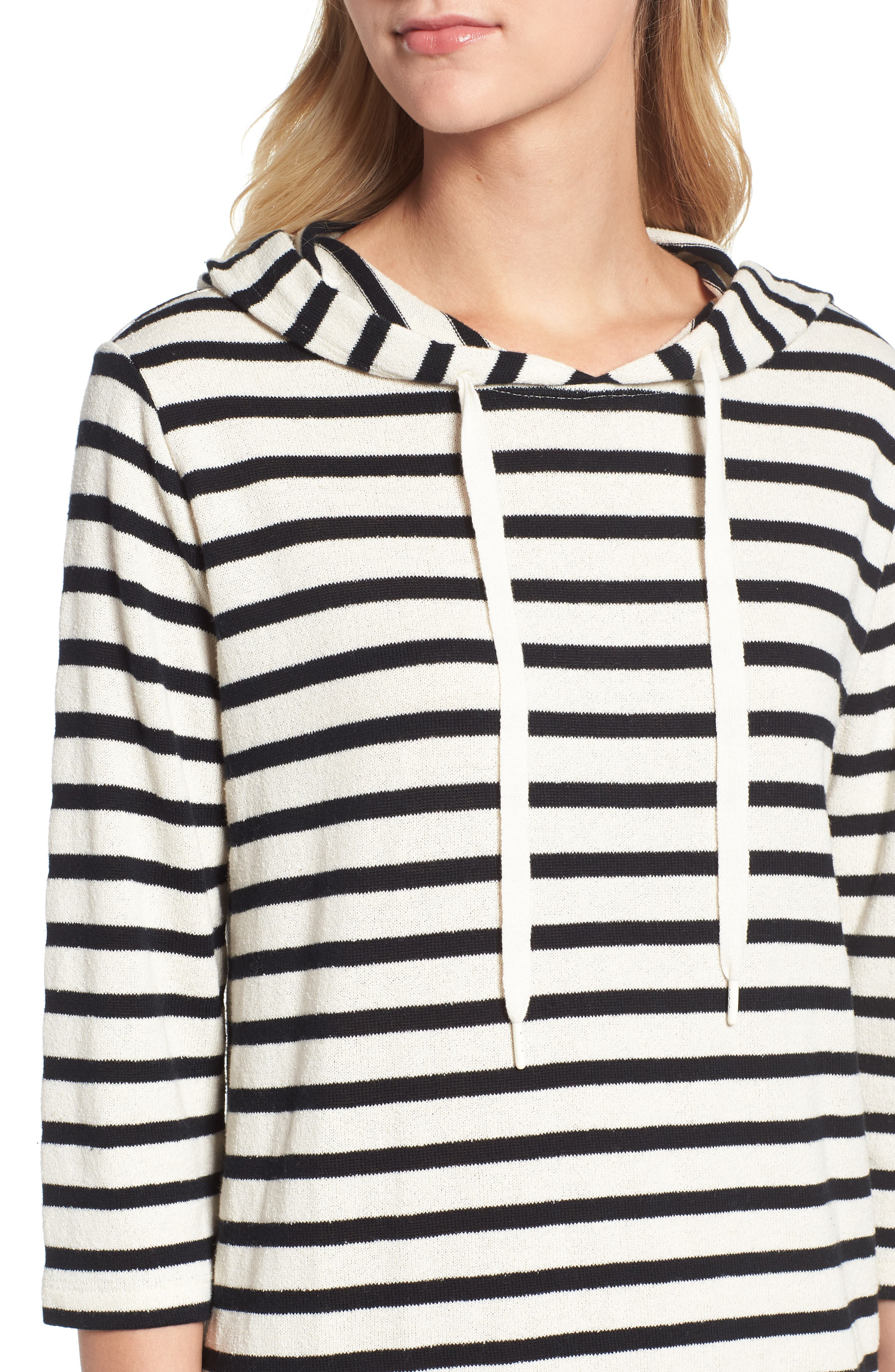 Striped Hoodie Dress,                             Alternate thumbnail 6, color,                             BLACK/ WHITE