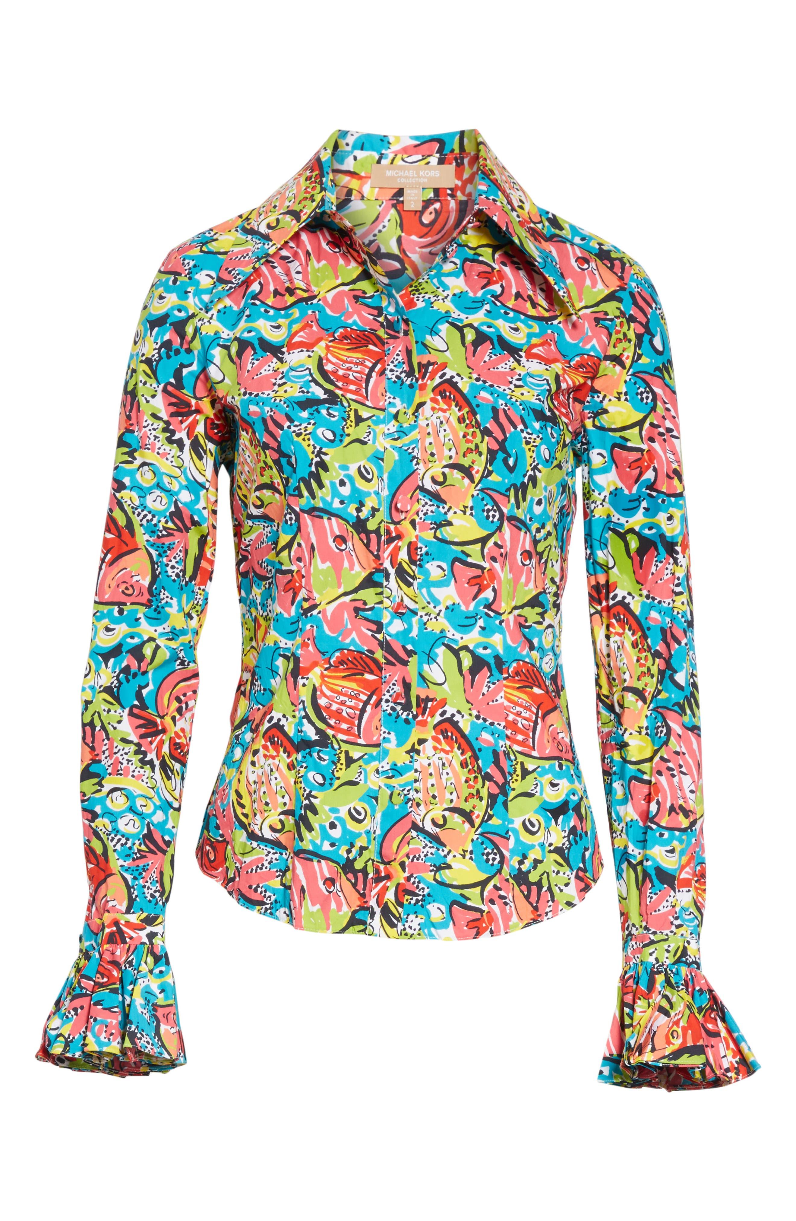 Crushed Print Bell Sleeve Shirt,                             Alternate thumbnail 6, color,                             BLACK MULTI