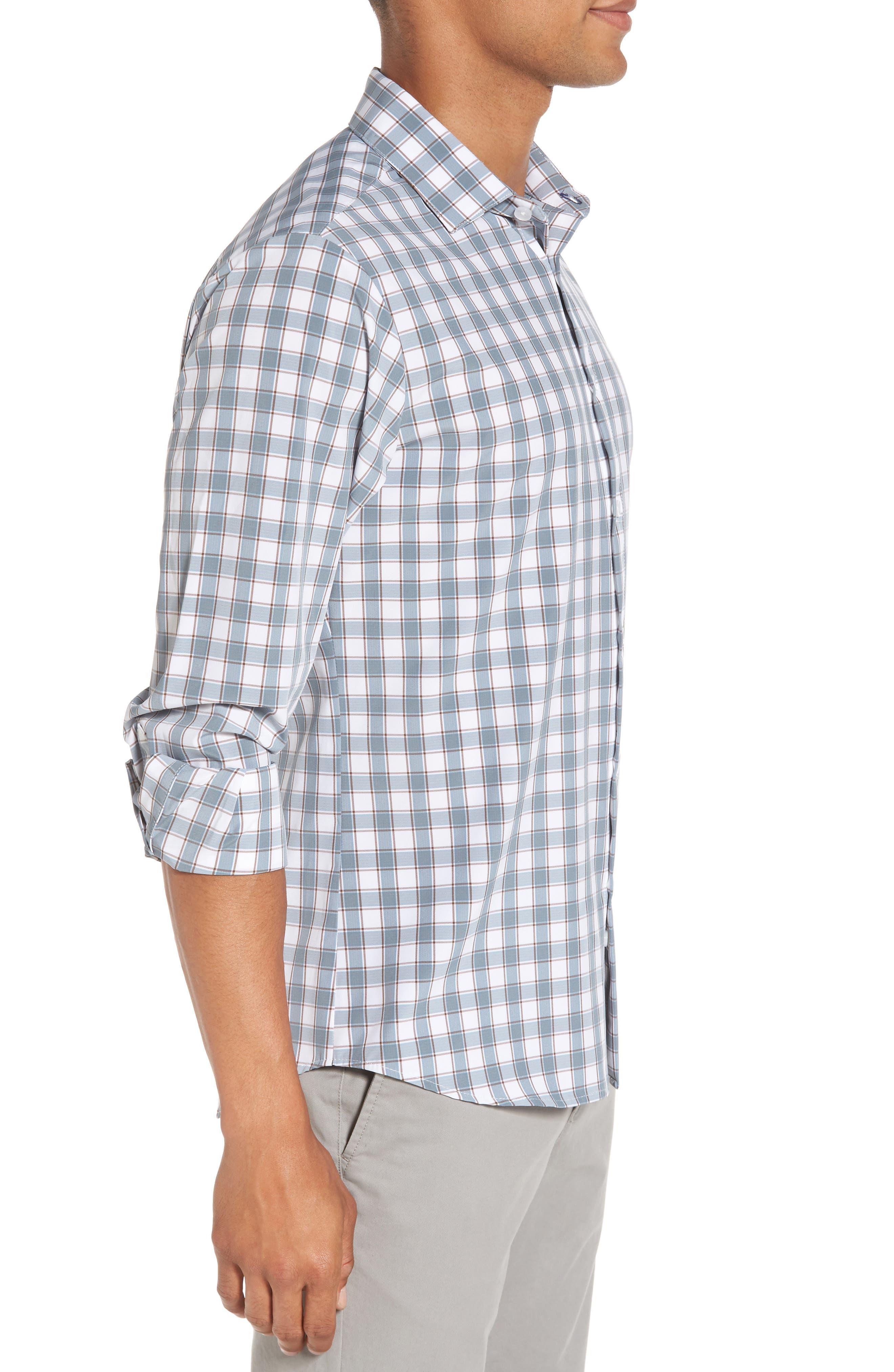 Covington Blue Shadow & Toffee Check Sport Shirt,                             Alternate thumbnail 3, color,                             400