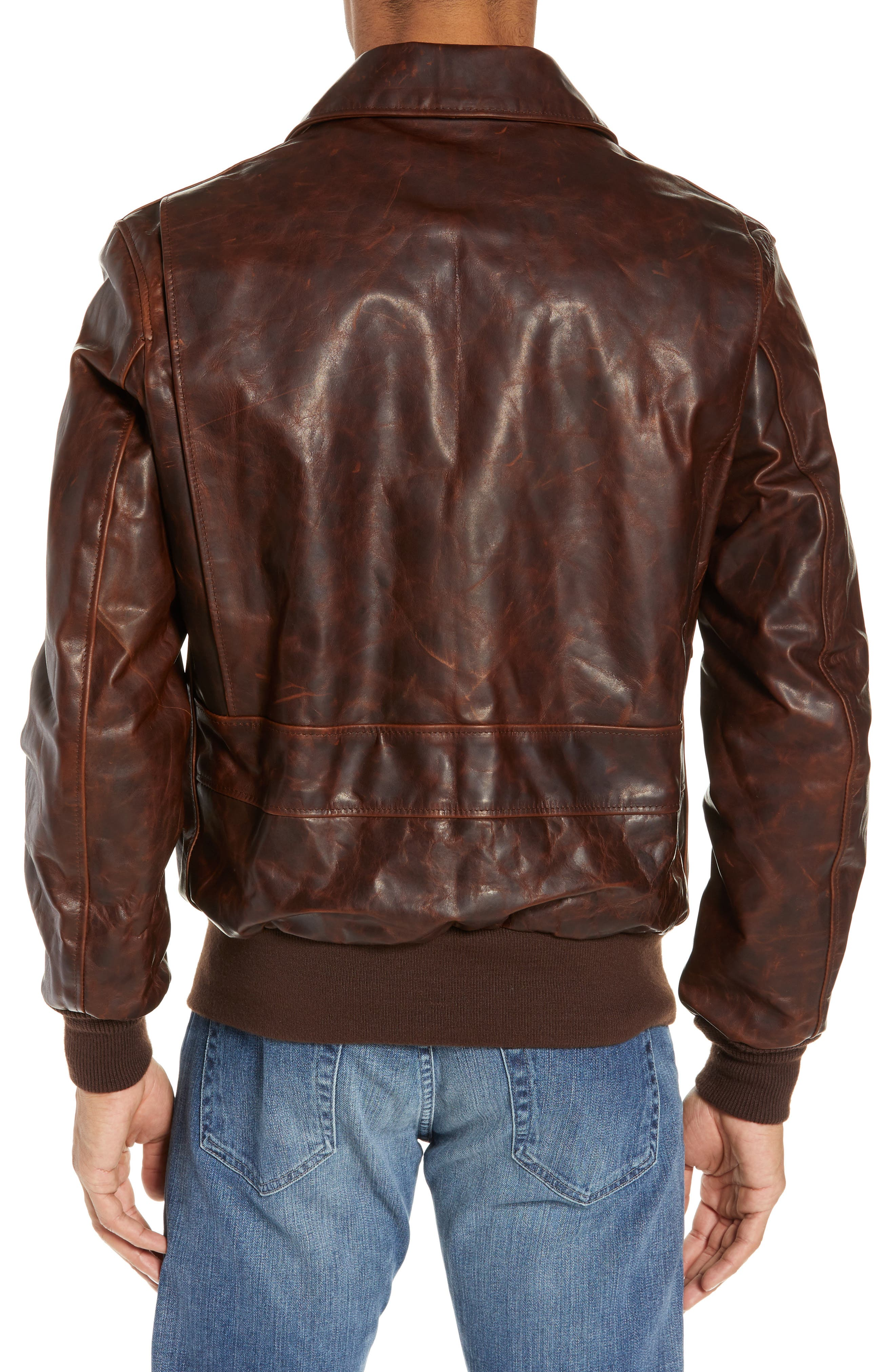 Vintage Oiled Cowhide Leather Flight Jacket,                             Alternate thumbnail 2, color,                             200