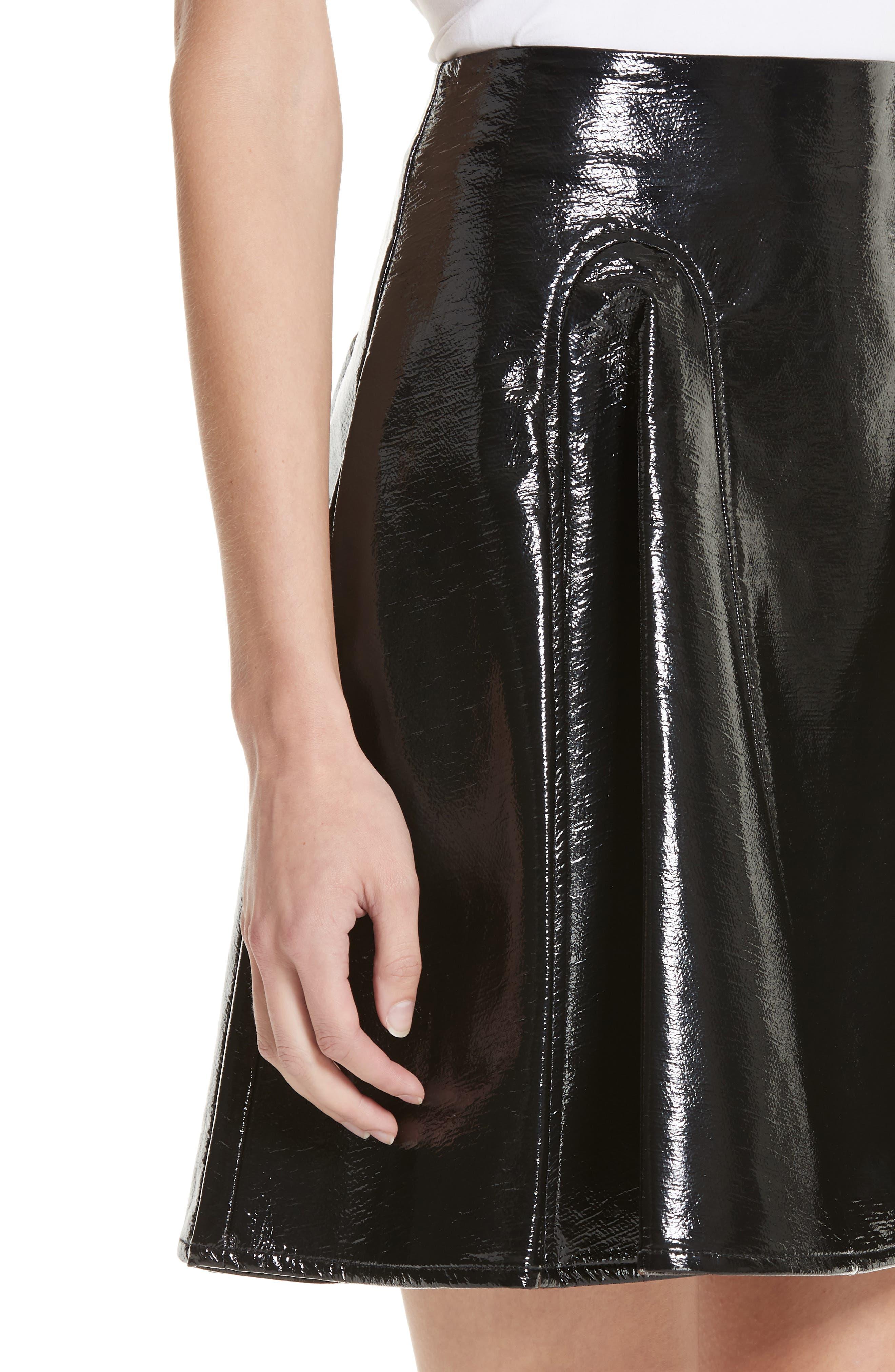 Trivia Coated Miniskirt,                             Alternate thumbnail 4, color,                             BLACK