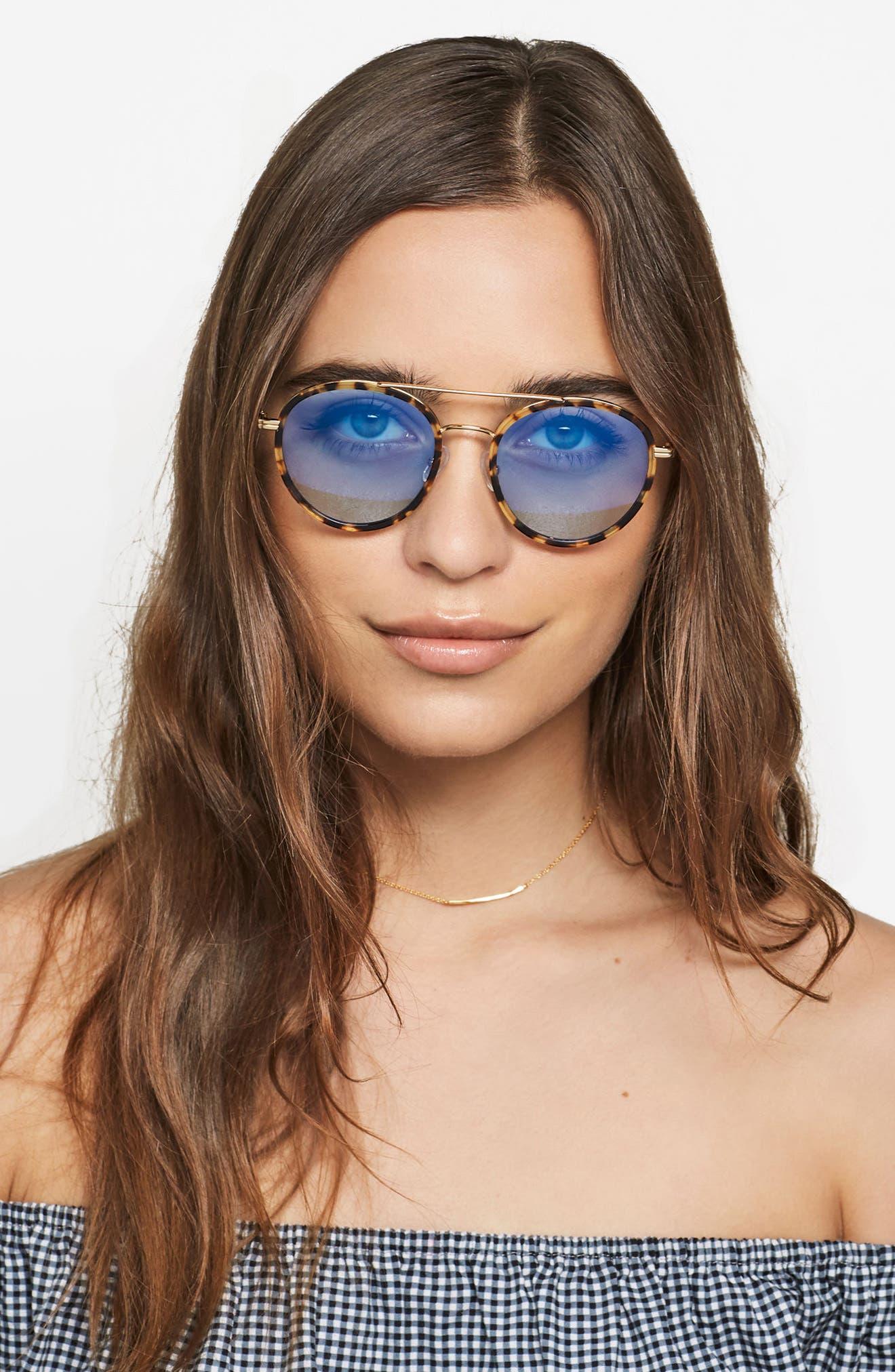 Charli 50mm Mirrored Lens Round Sunglasses,                             Alternate thumbnail 14, color,
