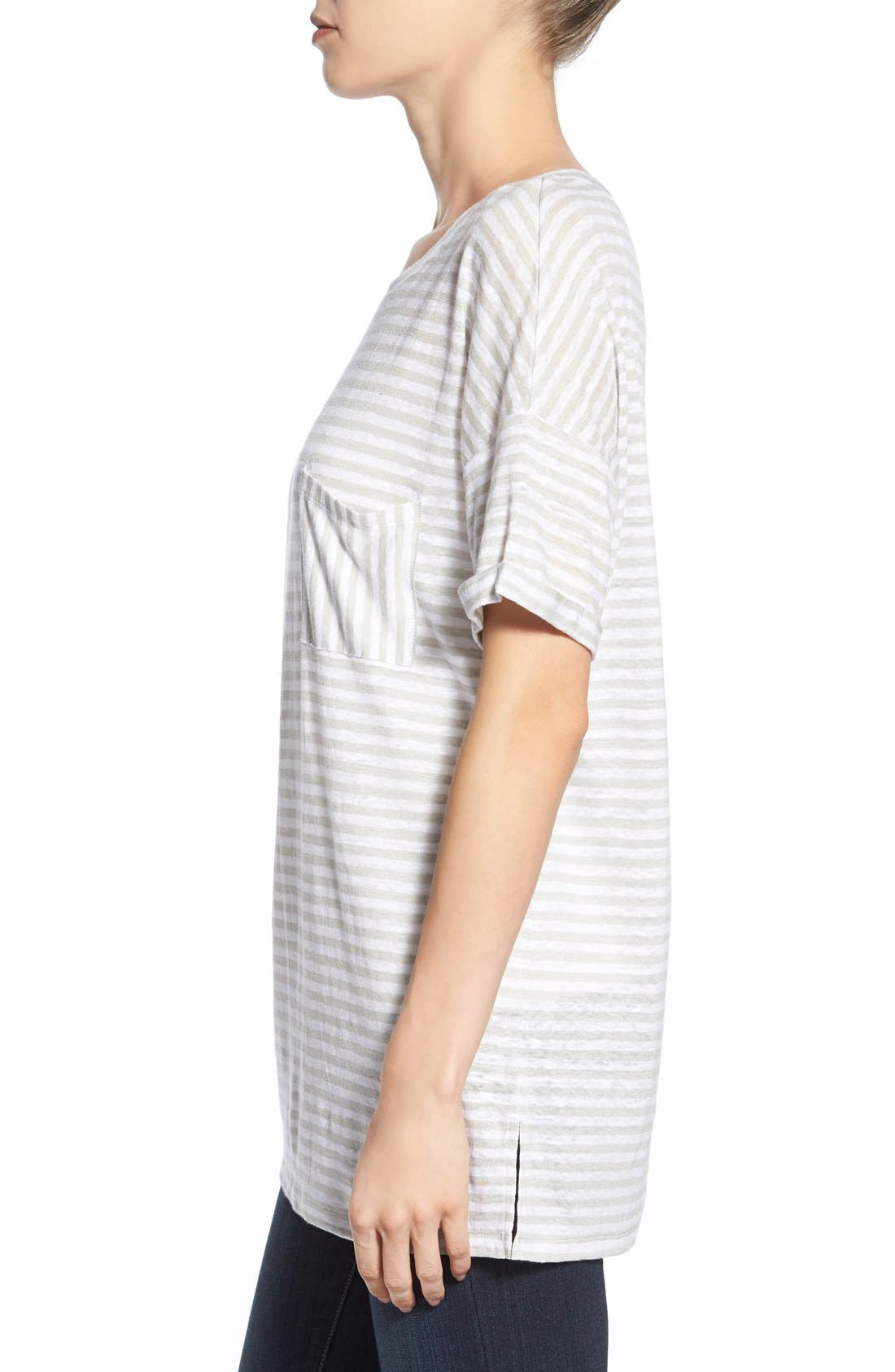 CASLON<SUP>®</SUP>,                             Cuff Sleeve One-Pocket Stripe Tee,                             Alternate thumbnail 2, color,                             050