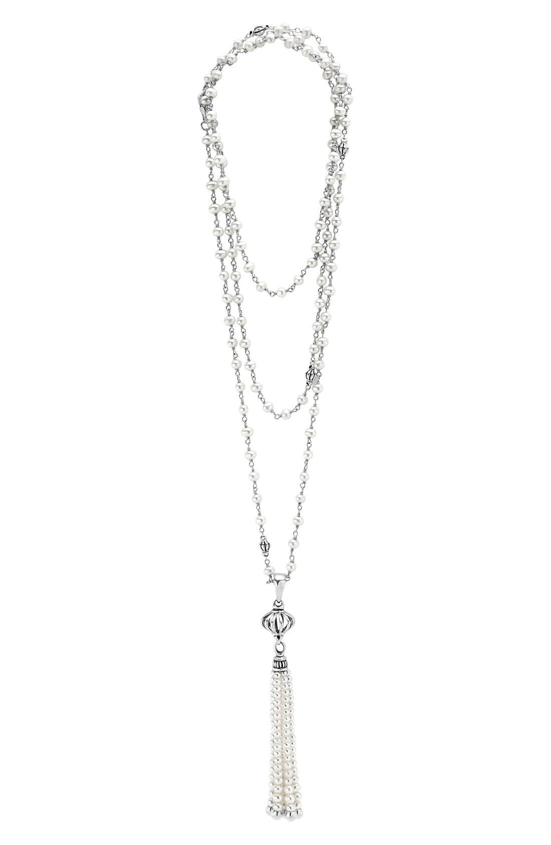 'Luna' Pearl Tassel Necklace,                             Main thumbnail 1, color,                             SILVER/ PEARL