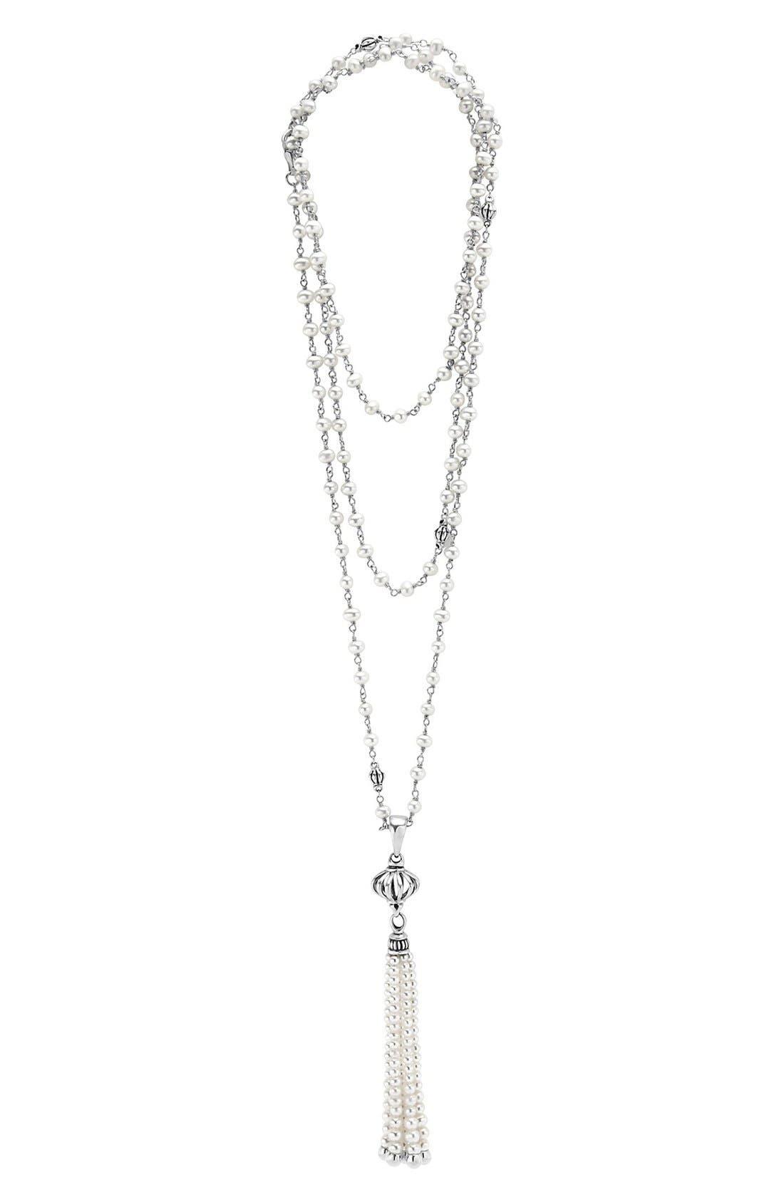 'Luna' Pearl Tassel Necklace,                         Main,                         color, SILVER/ PEARL