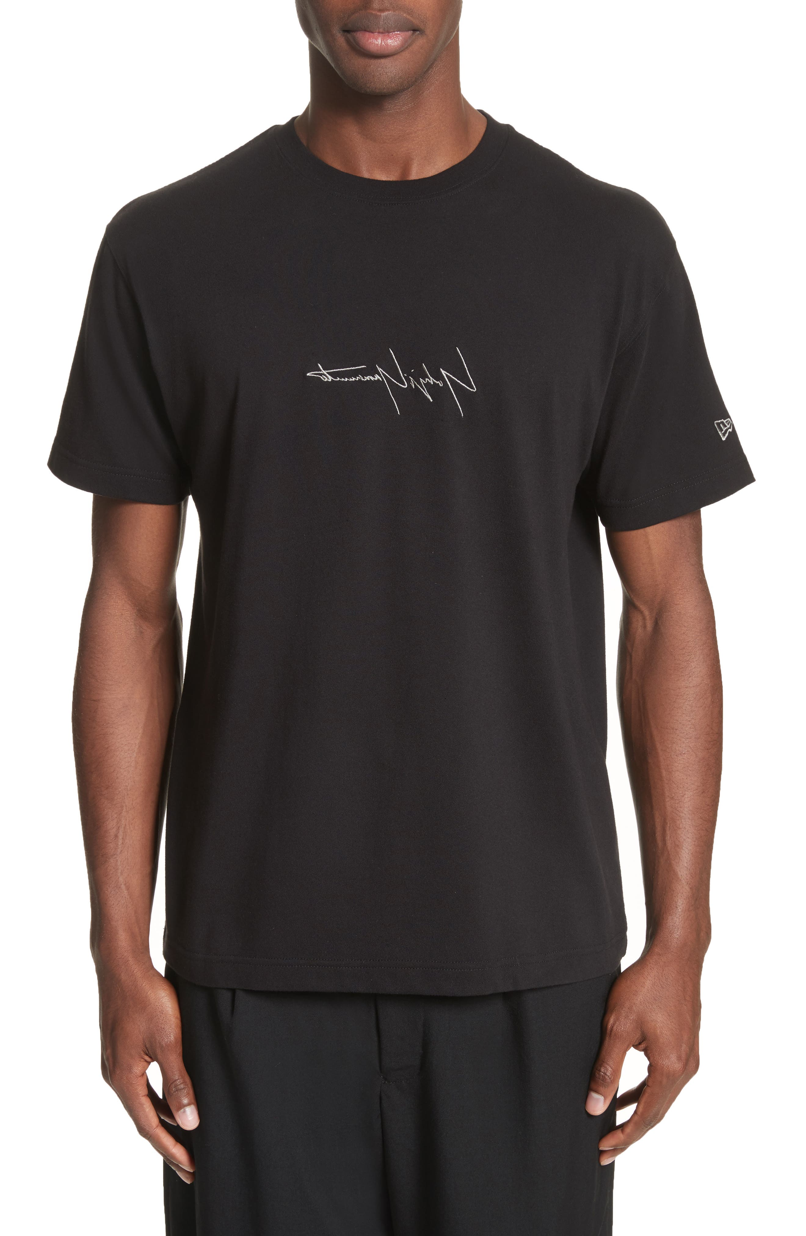 x New Era Embroidered Script T-Shirt,                             Main thumbnail 1, color,                             001