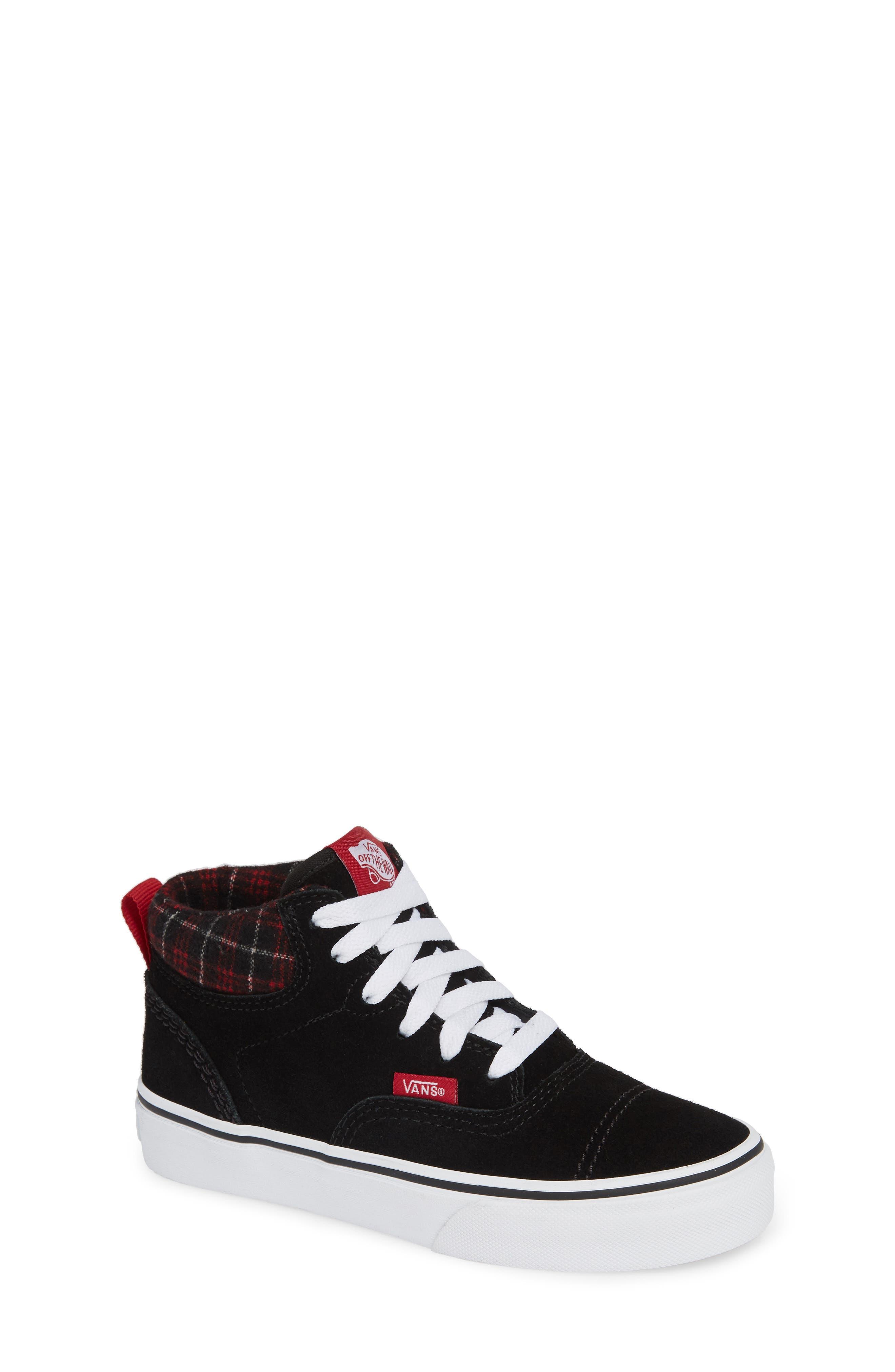 Era - Hi Sneaker,                             Main thumbnail 1, color,                             SUEDE AND PLAID BLACK/ WHITE