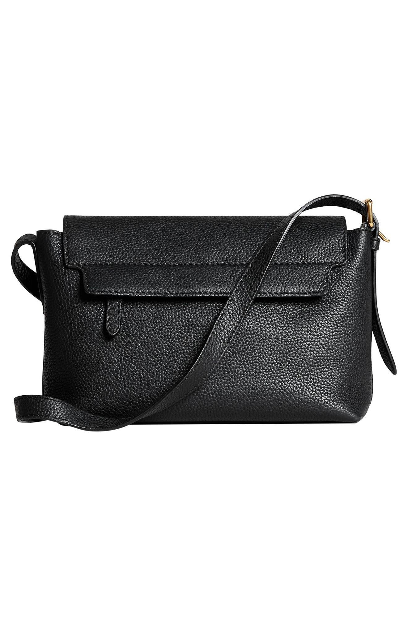 Small Burleigh Leather Crossbody Bag,                             Alternate thumbnail 3, color,                             001