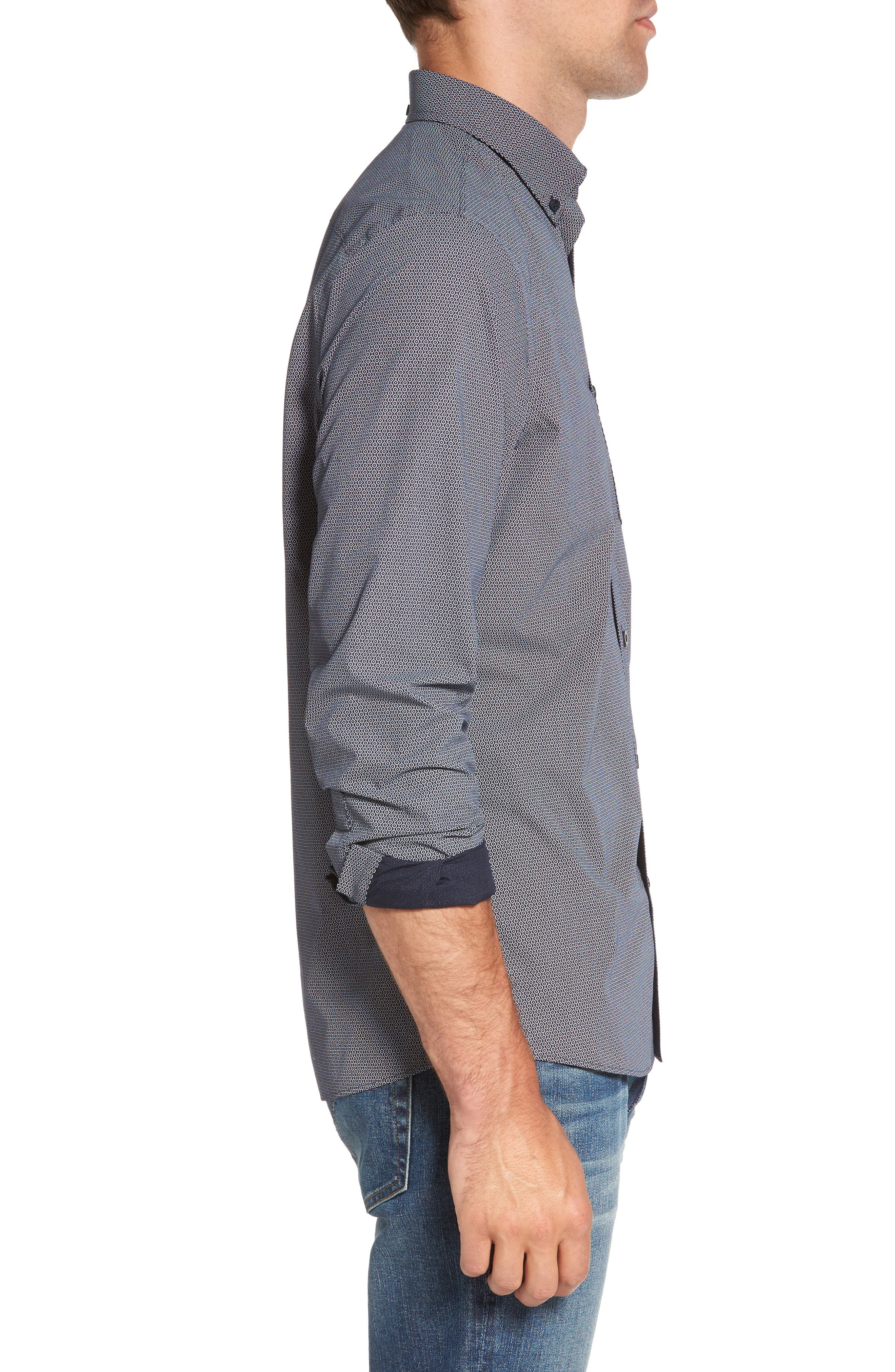 Slim Fit Non-Iron Dot Print Sport Shirt,                             Alternate thumbnail 3, color,                             410