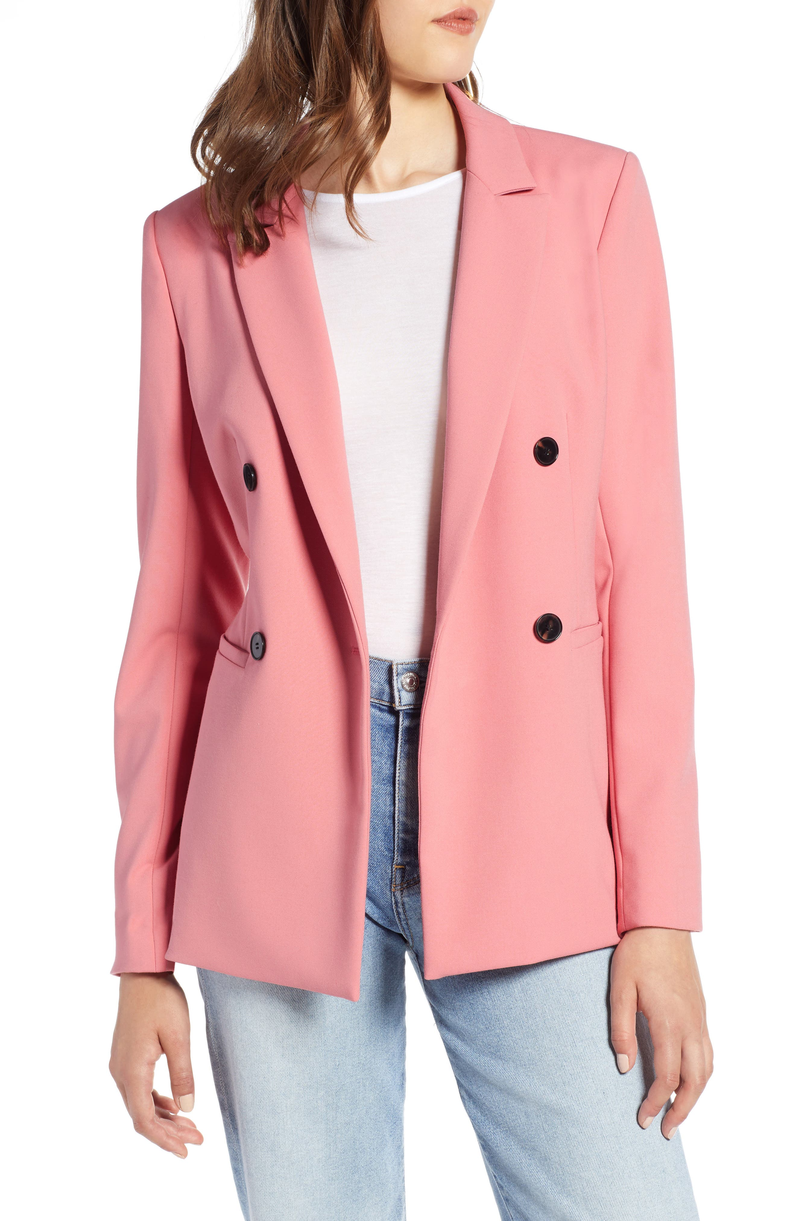 Double Breasted Blazer,                             Main thumbnail 1, color,                             CORAL MAUVE