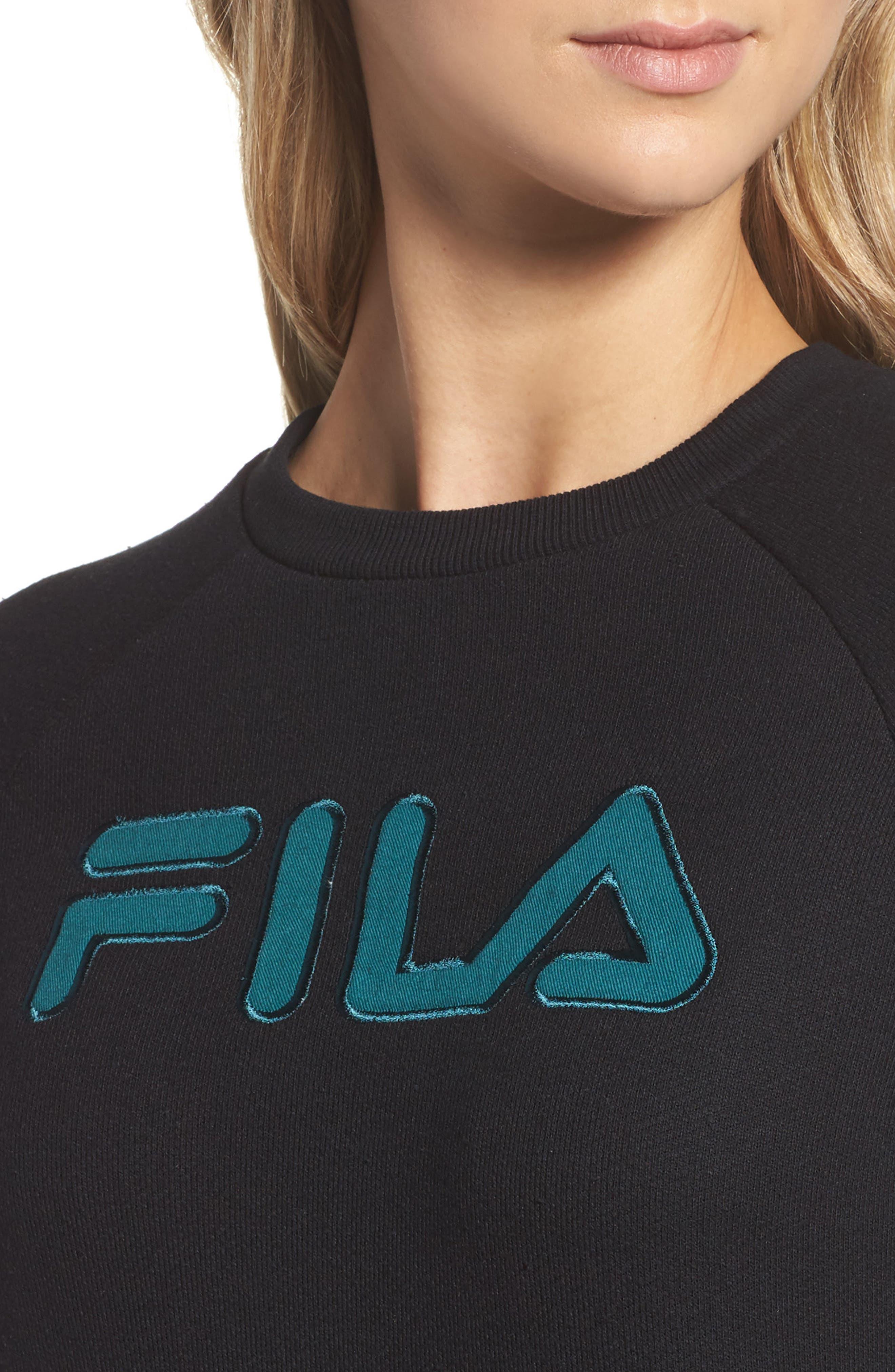 FILA,                             Courtney Sweatshirt Dress,                             Alternate thumbnail 4, color,                             001