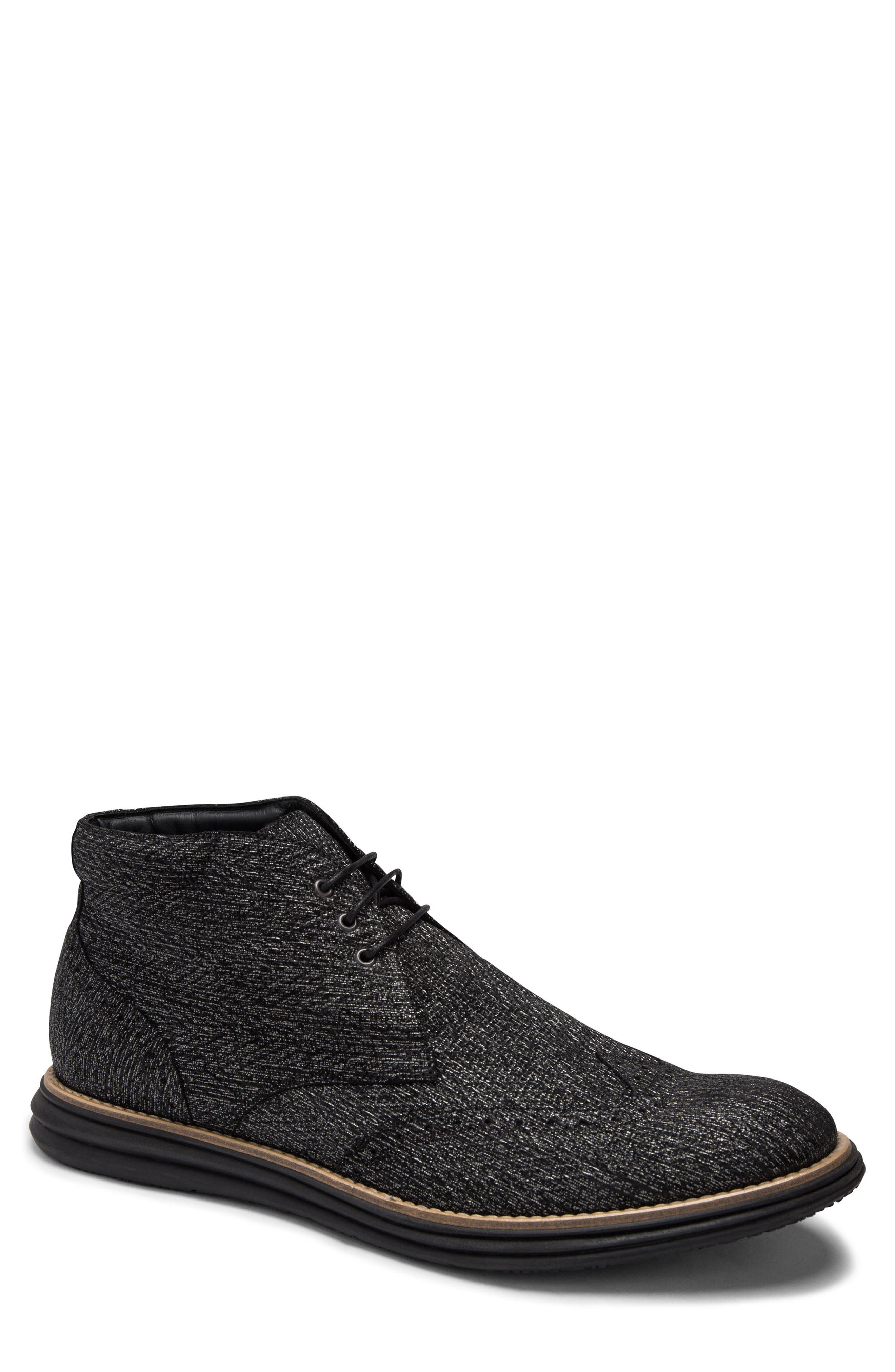 Textured Wingtip Chukka Boot,                             Main thumbnail 1, color,                             NERO