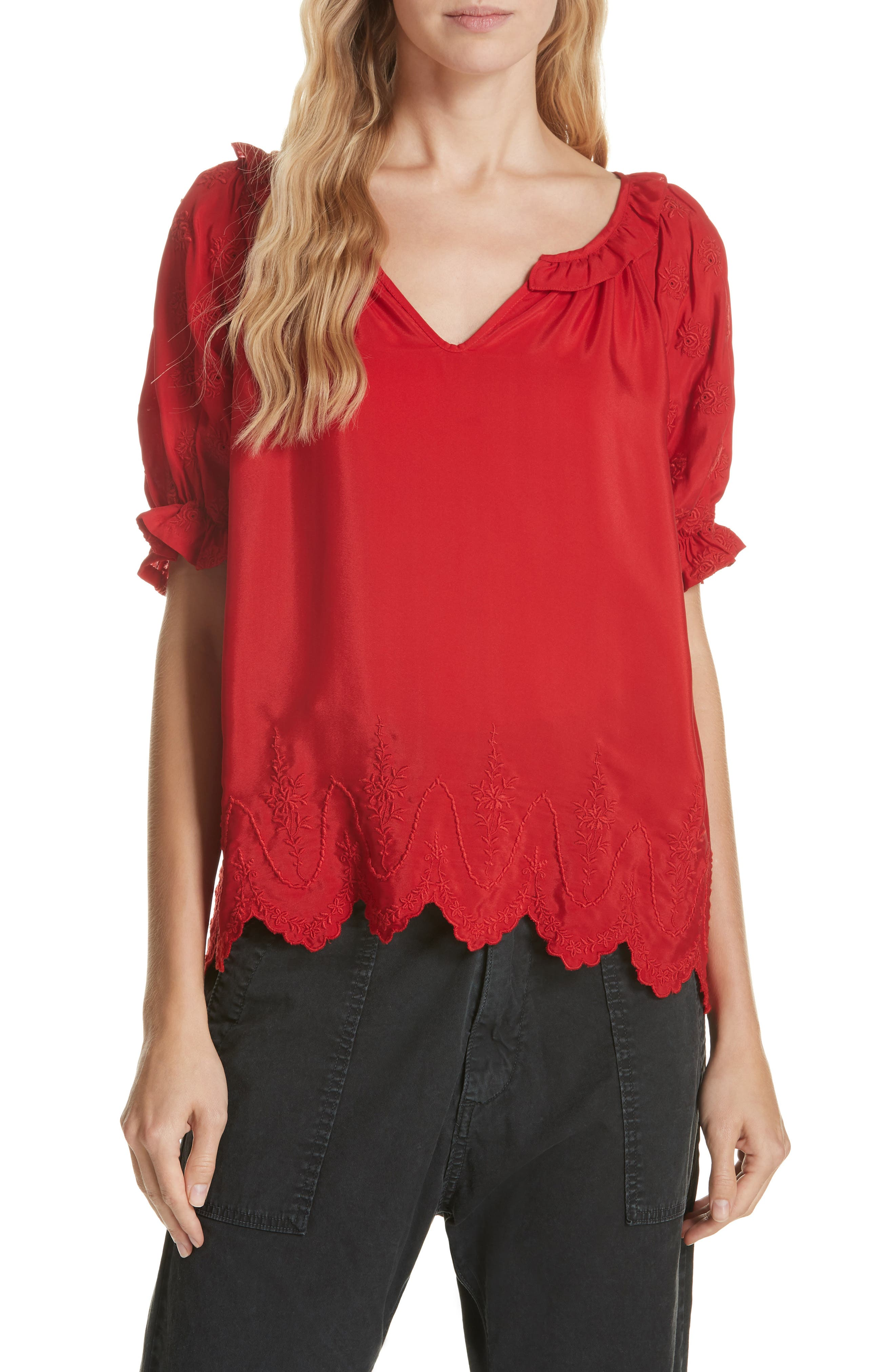 Wish Embroidered Silk Top,                             Main thumbnail 1, color,                             VALENTINE